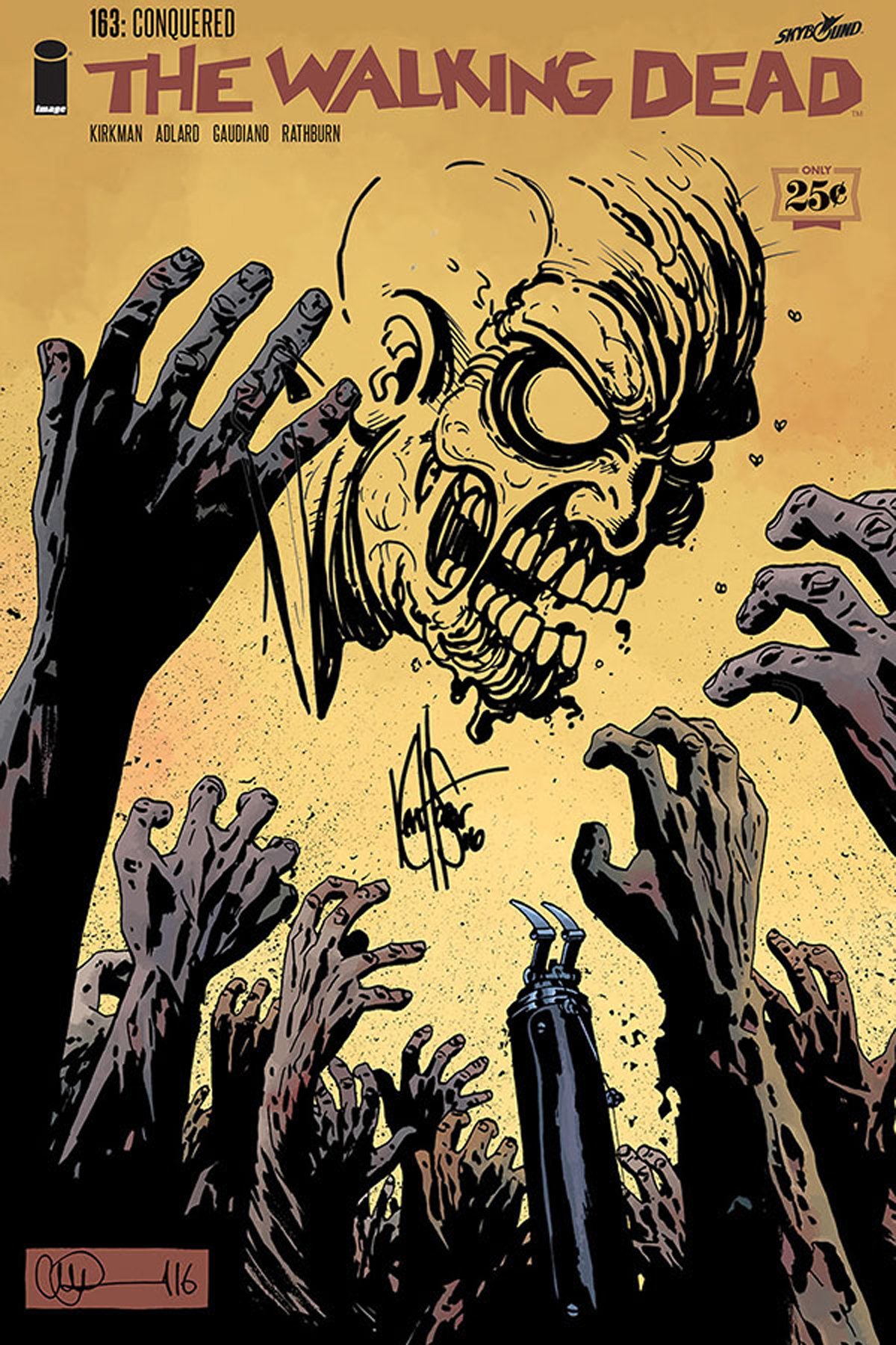 DF WALKING DEAD #163 ZOMBIE SKETCH HAESER SGN