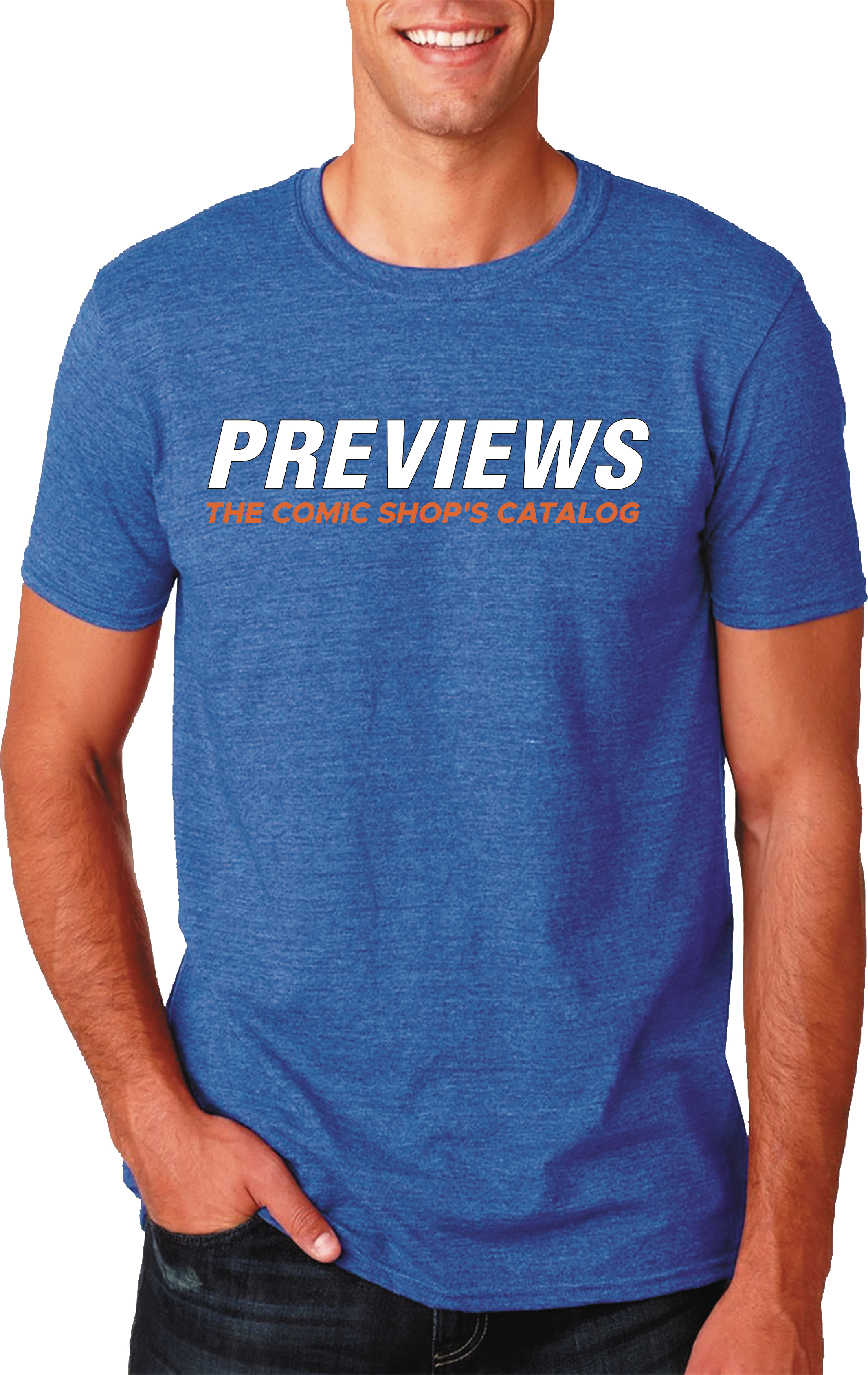 PREVIEWS LOGO HEATHER BLUE T/S MED