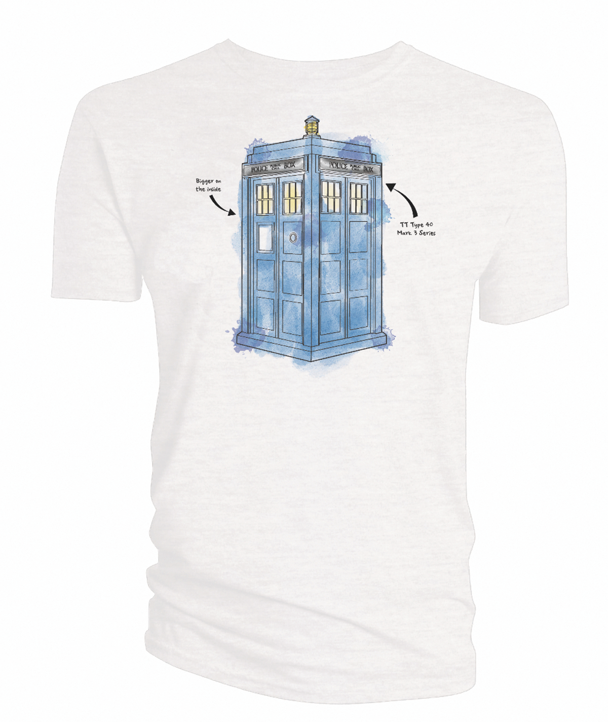 DOCTOR WHO WATERCOLOR TARDIS WHITE T/S XL