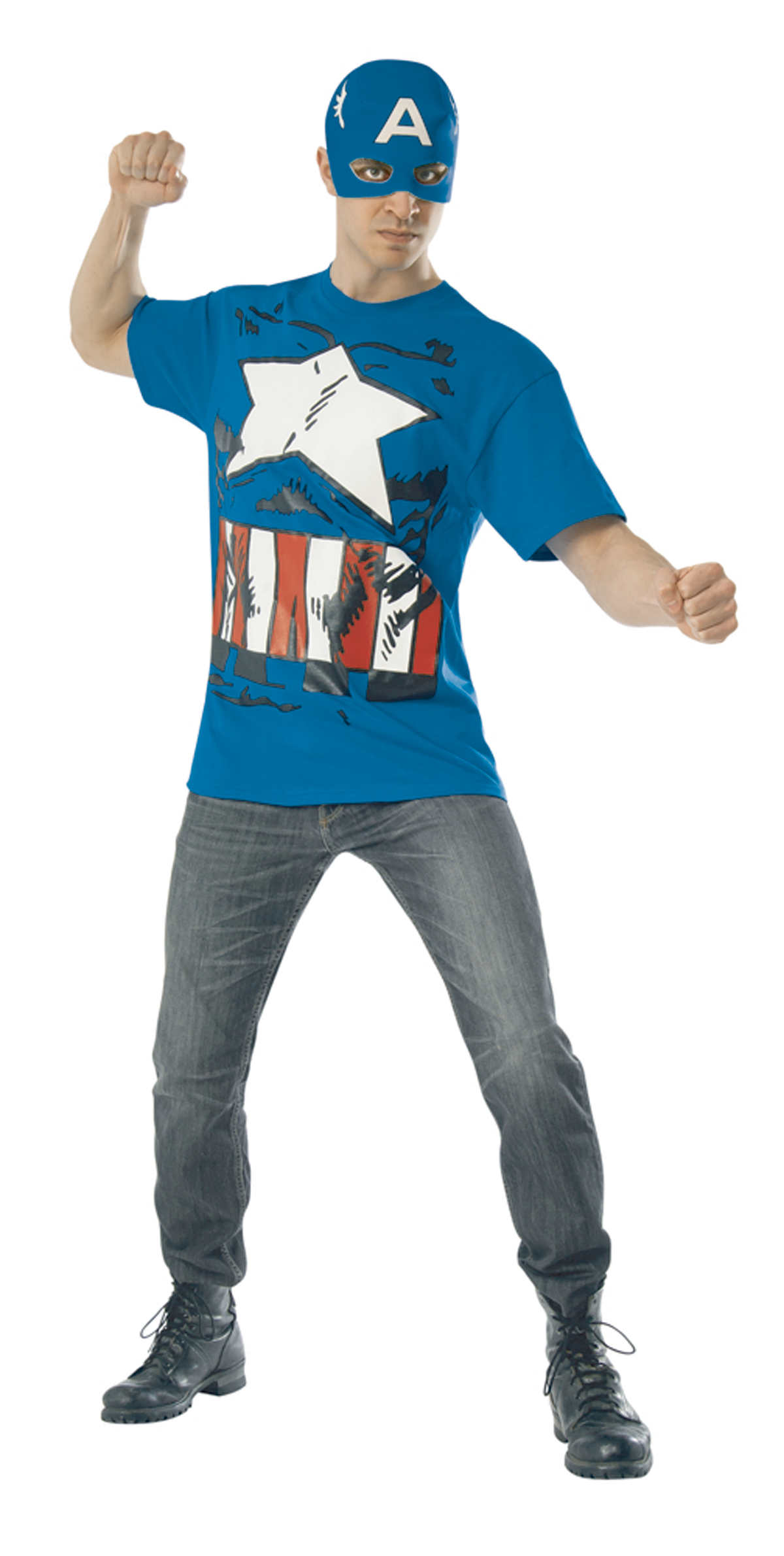 MARVEL CAPTAIN AMERICA T/S W/ MASK MED
