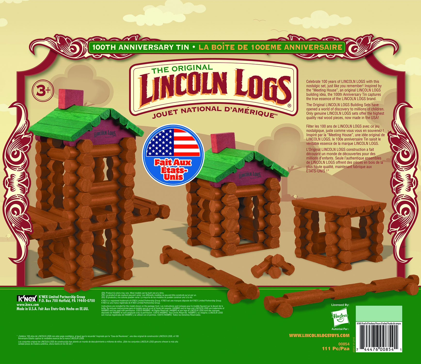 KNEX LINCOLN LOGS 100TH ANNIVERSARY BUILDING SET TIN