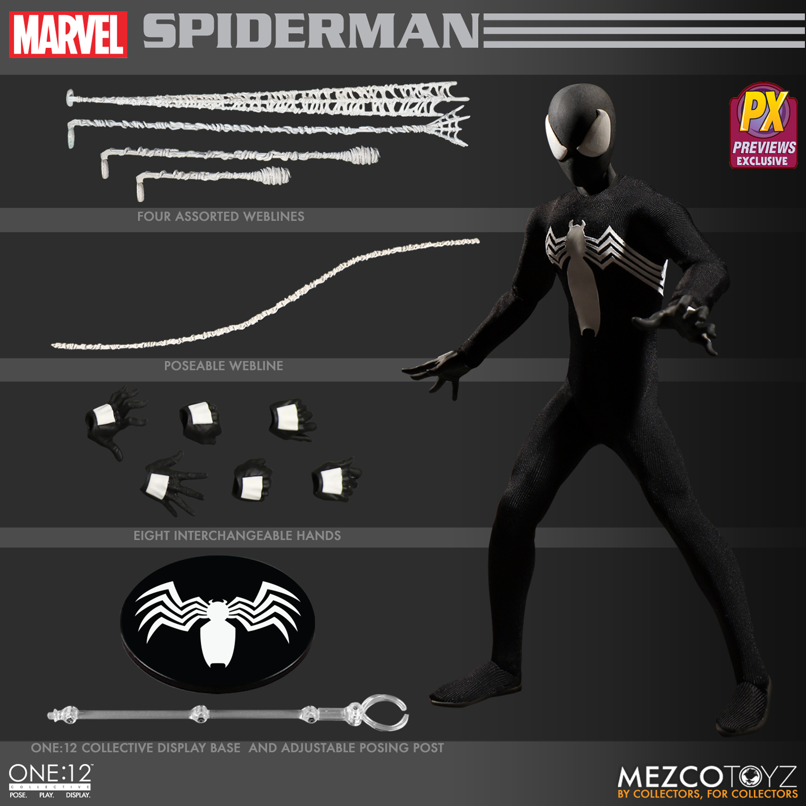 ONE-12 COLLECTIVE MARVEL SPIDER-MAN BLK VER PX AF