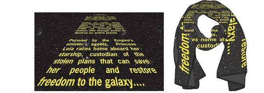 SW EP4 40TH ANN OPENING CRAWL PX GID SCARF W/LAPEL PIN