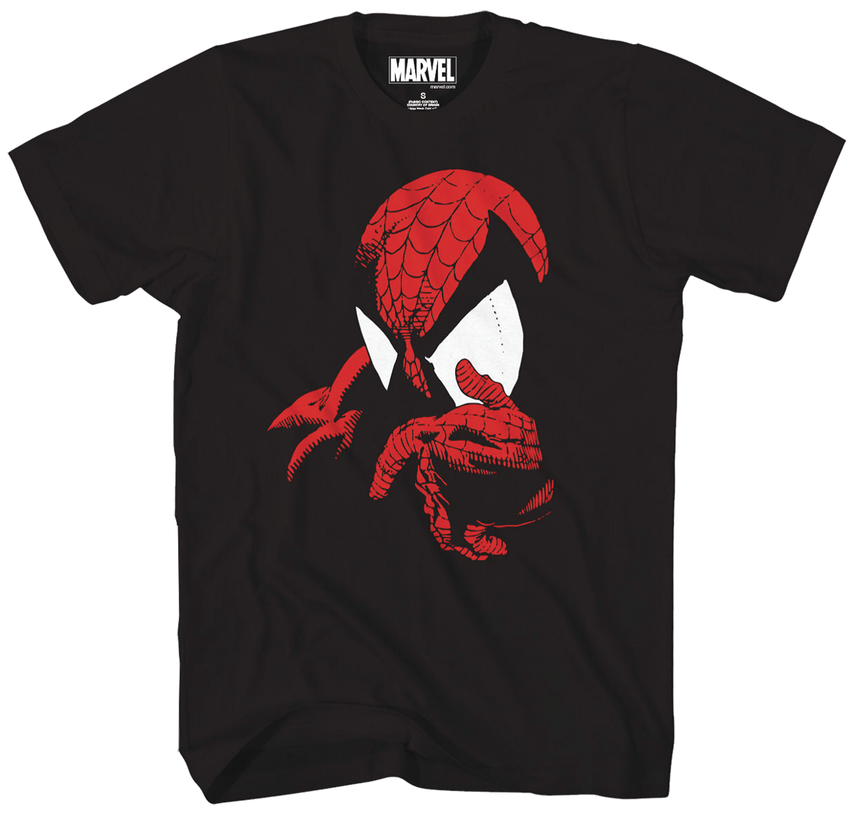 MARVEL SPIDEY THINK RED FOIL PX BLACK T/S LG