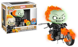 POP RIDES MARVEL CLASSIC GHOST RIDER W/BIKE PX VIN FIG GLOW