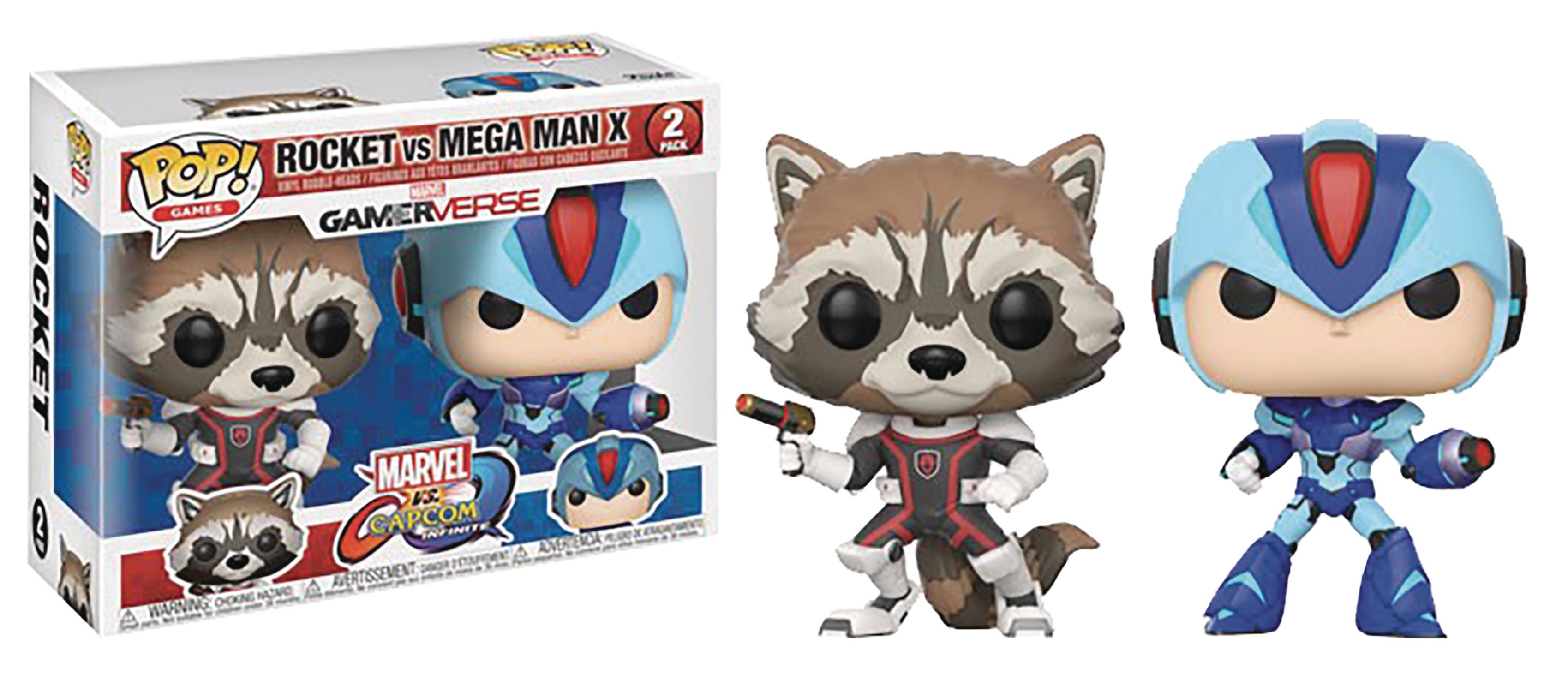 Aug178338 Pop Marvel Vs Capcom Rocket Vs Megaman Vinyl