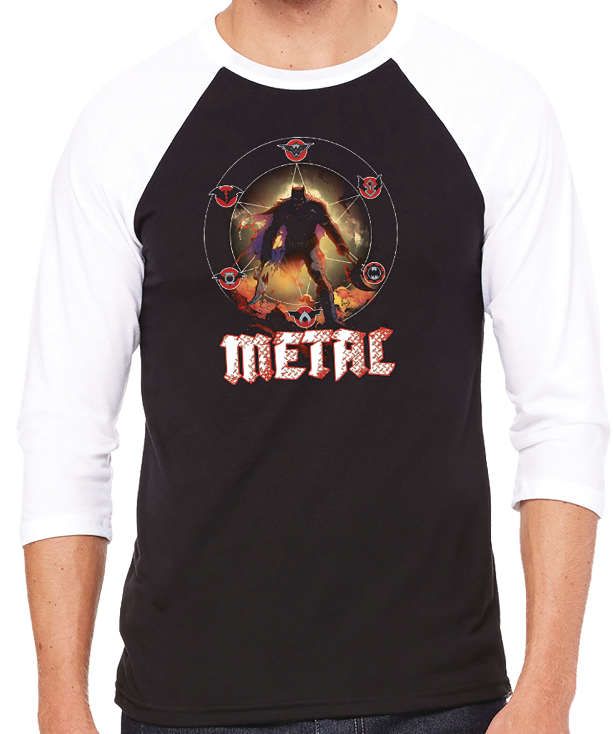 DARK NIGHTS METAL TOUR BASEBALL SHIRT MED