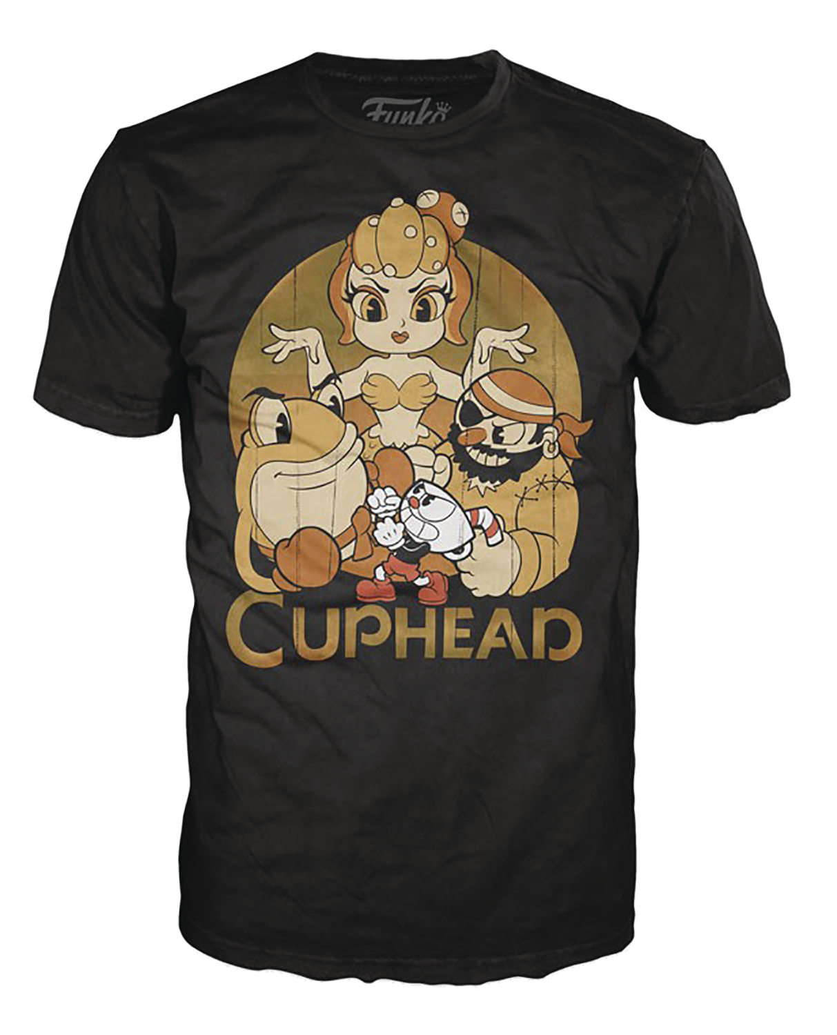 POP TEES CUPHEAD AND BOSSES BLACK T/S XS
