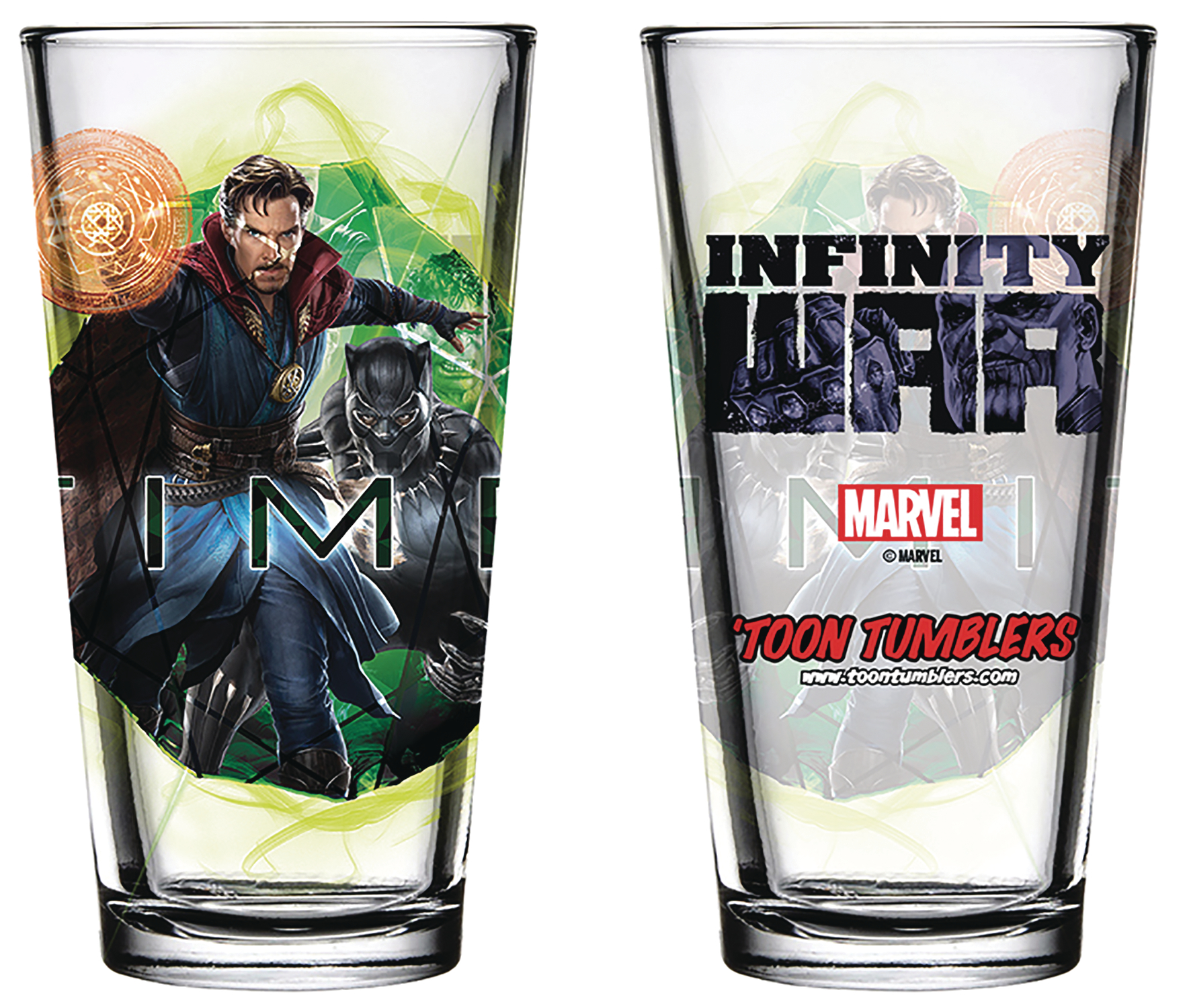 AVENGERS IW BLACK PANTHER DOCTOR STRANGE PINT GLASS