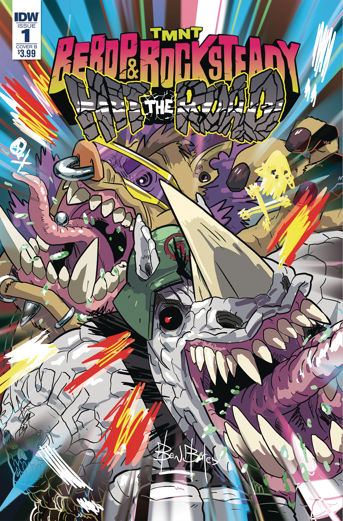 TMNT BEBOP ROCKSTEADY HIT THE ROAD #1 (OF 5) CVR B BATES