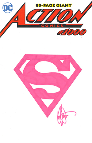 DF ACTION COMICS #1000 HAESER LTD PINK REMARKED