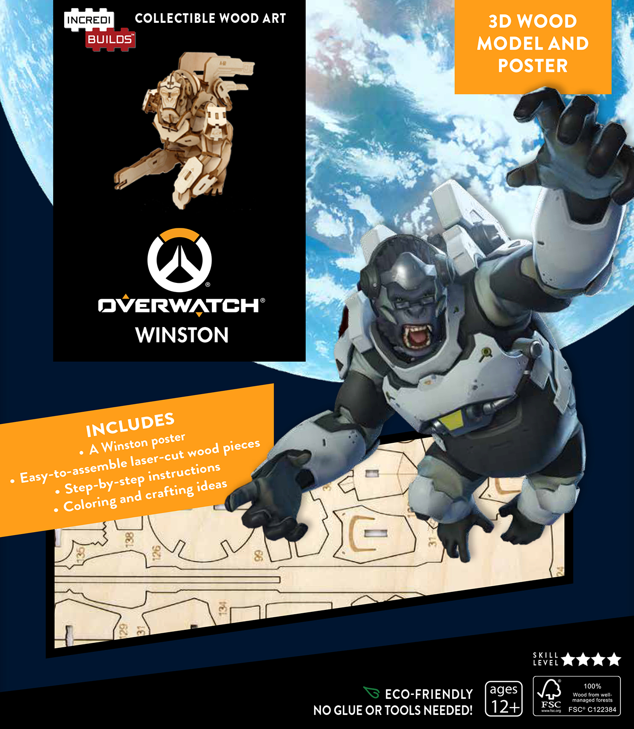 INCREDIBUILDS OW WINSTON 3D WOOD MODEL & POSTER