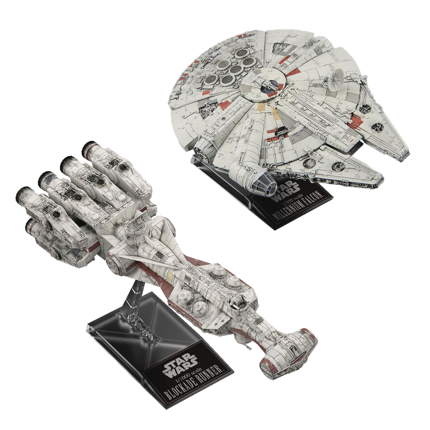 SW BLOCKADE RUNNER 1/1000 & MILLENNIUM FALCON 1/350 MODEL (N
