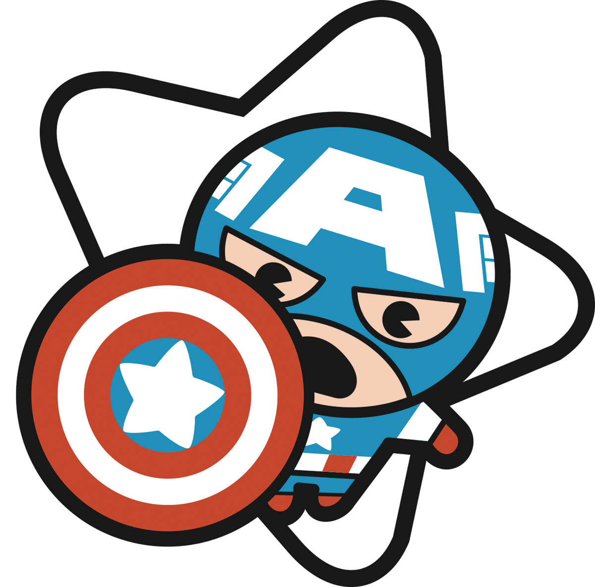 MARVEL KAWAII CAPTAIN AMERICA PIN