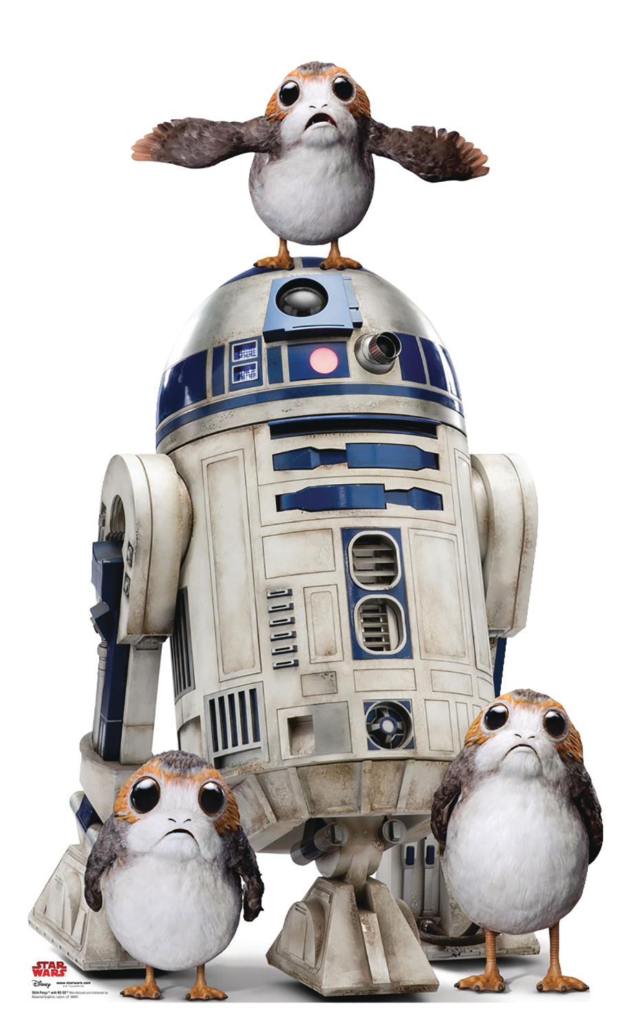 STAR WARS THE LAST JEDI R2-D2 W/PORGS LIFE-SIZE STAND UP