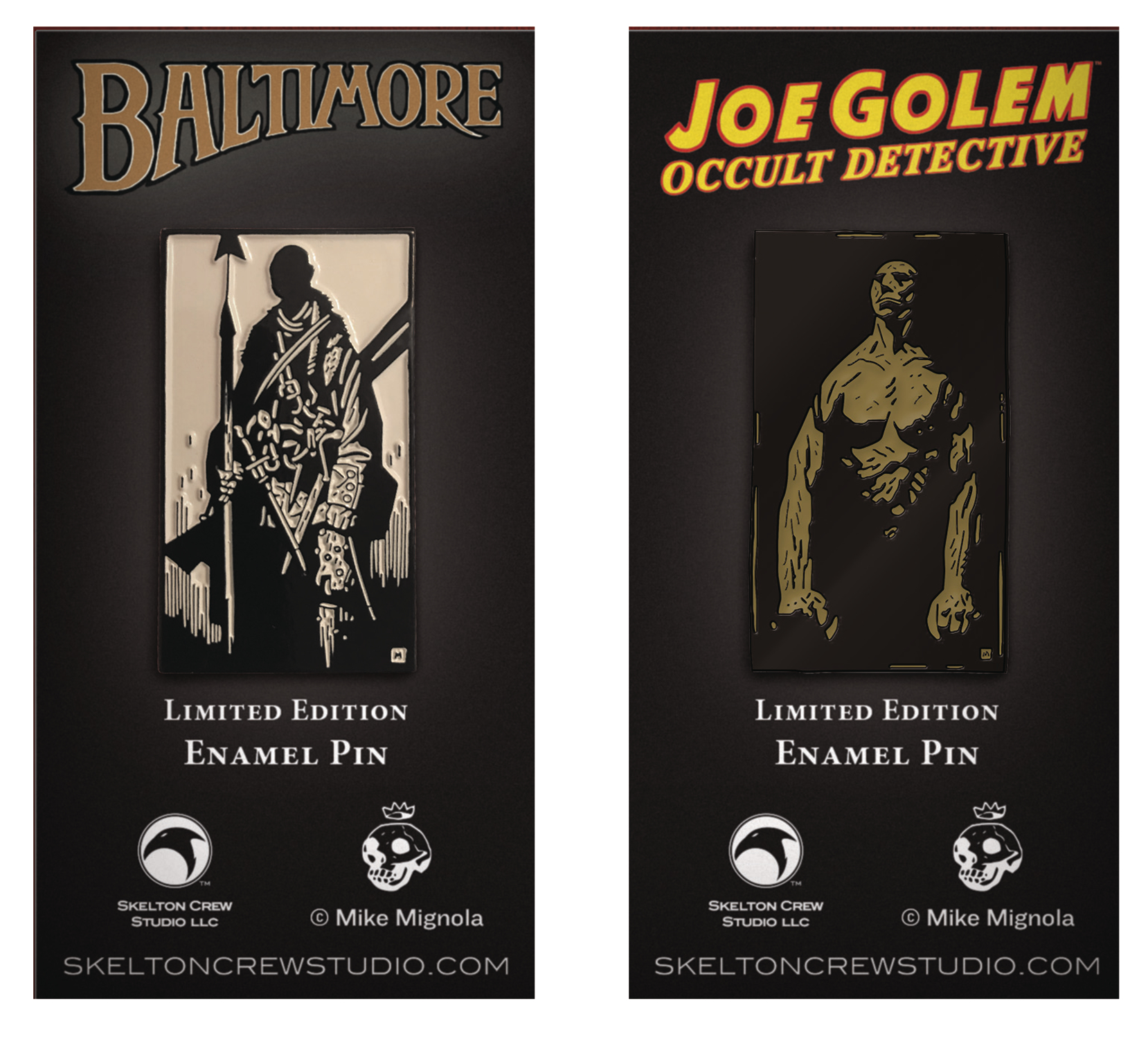 MIGNOLA JOE GOLEM & LORD BALTIMORE LTD ED ENAMEL PIN SET
