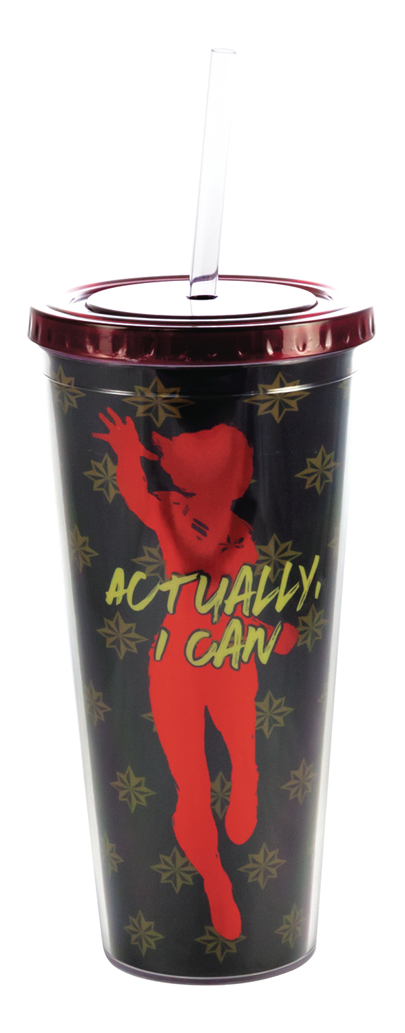 CAPTAIN MARVEL ACTUALLY I CAN PVC TUMBLER W/STRAW