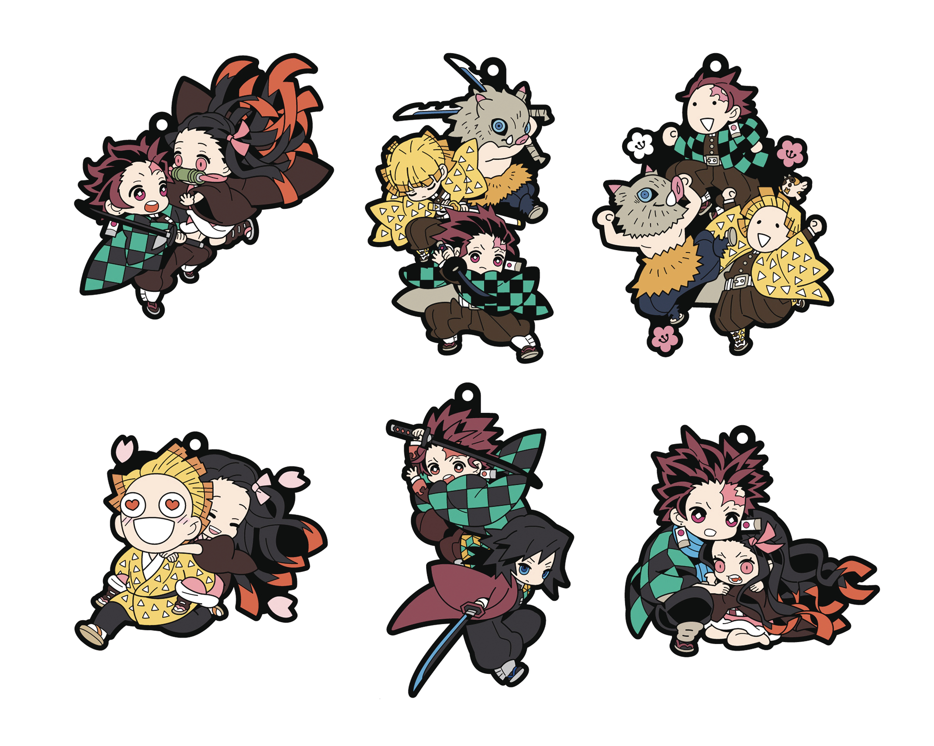 DEMON SLAYER KIMETSU NO YAIBA RUBBER MASCOT 6PC DS