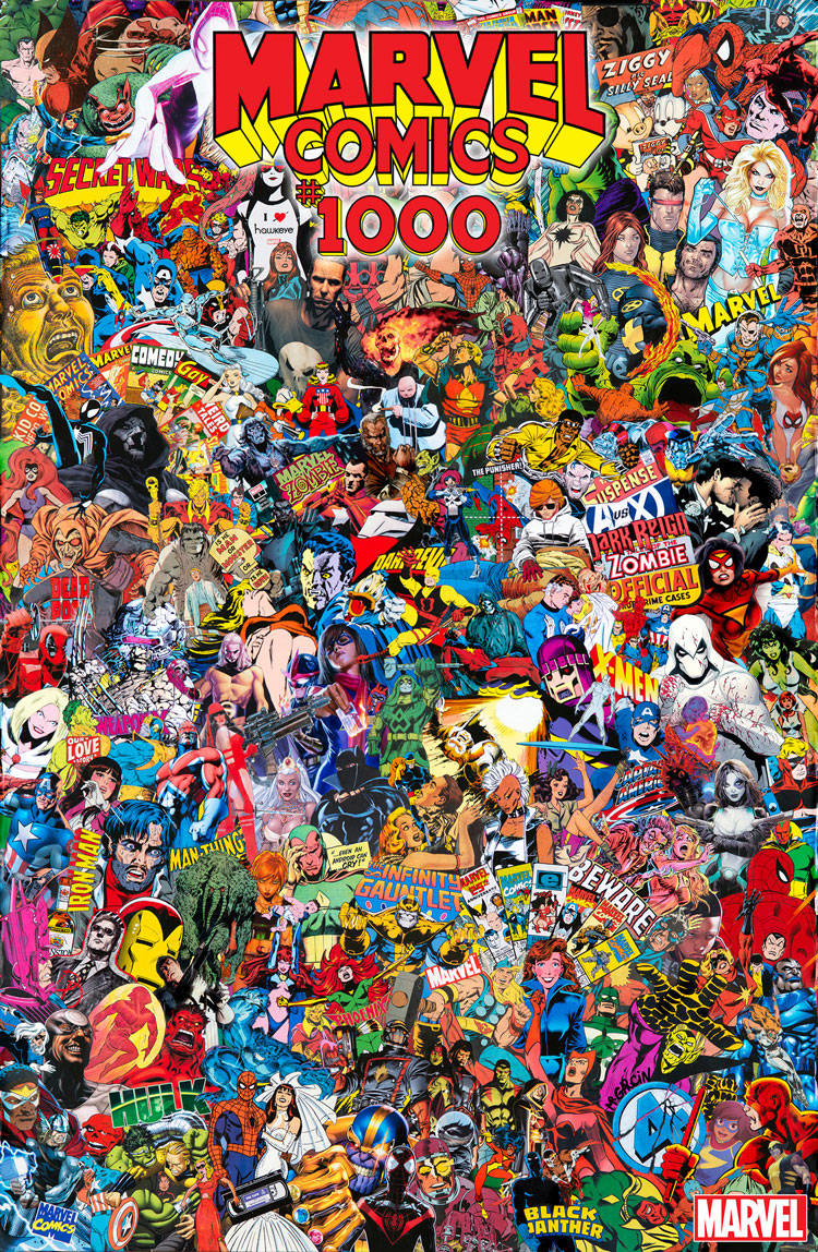 MARVEL COMICS #1000 COLLAGE BY GARCIN POSTER