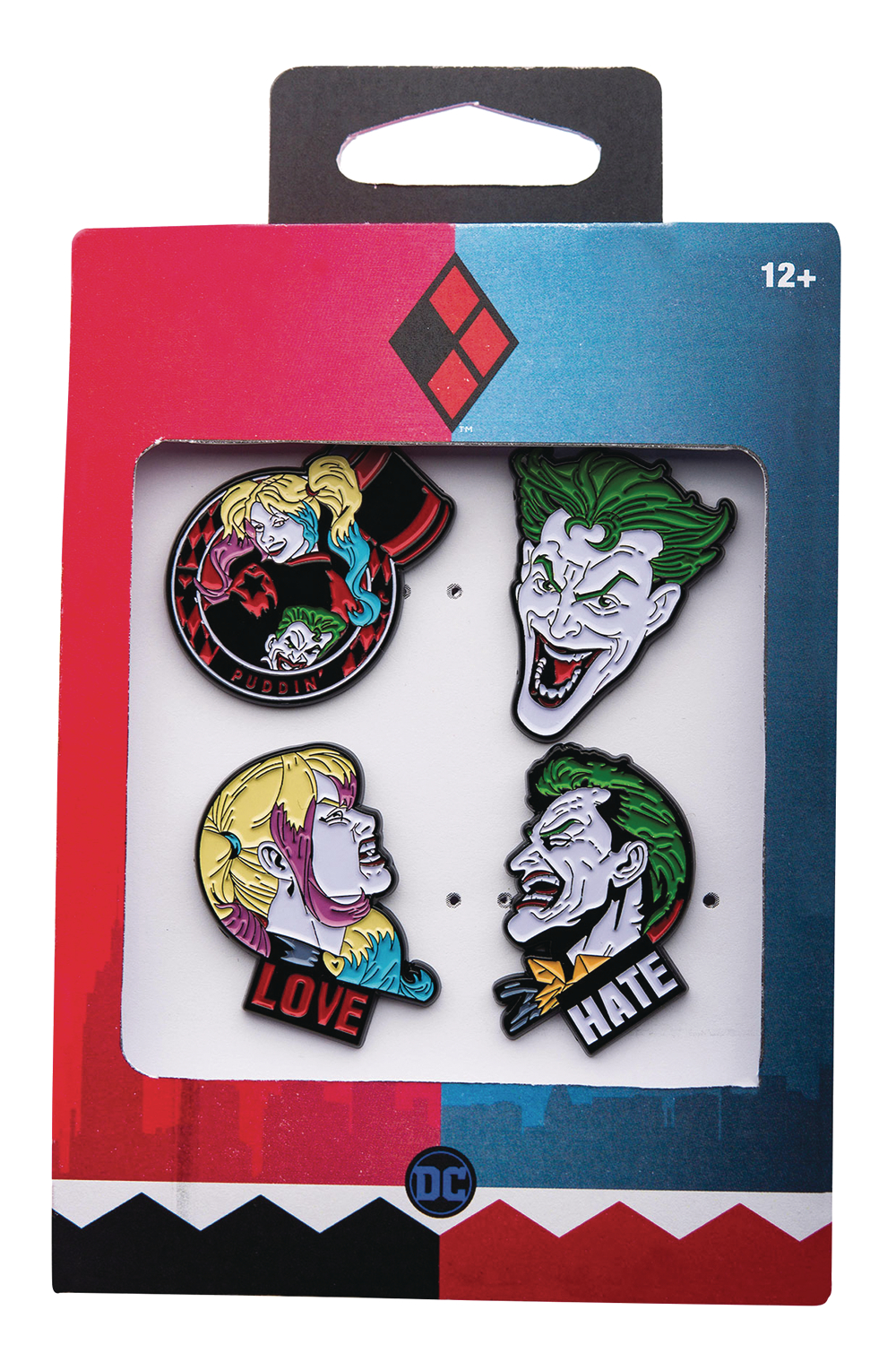 THE JOKER AND HARLEY 4PC BOXED PIN SET