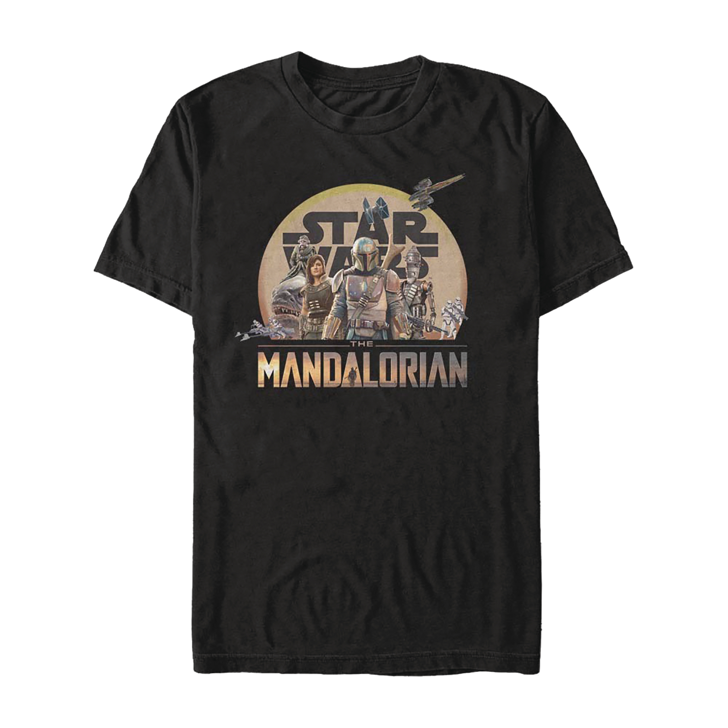 STAR WARS THE MANDALORIAN CHARACTER LOGO T/S MED