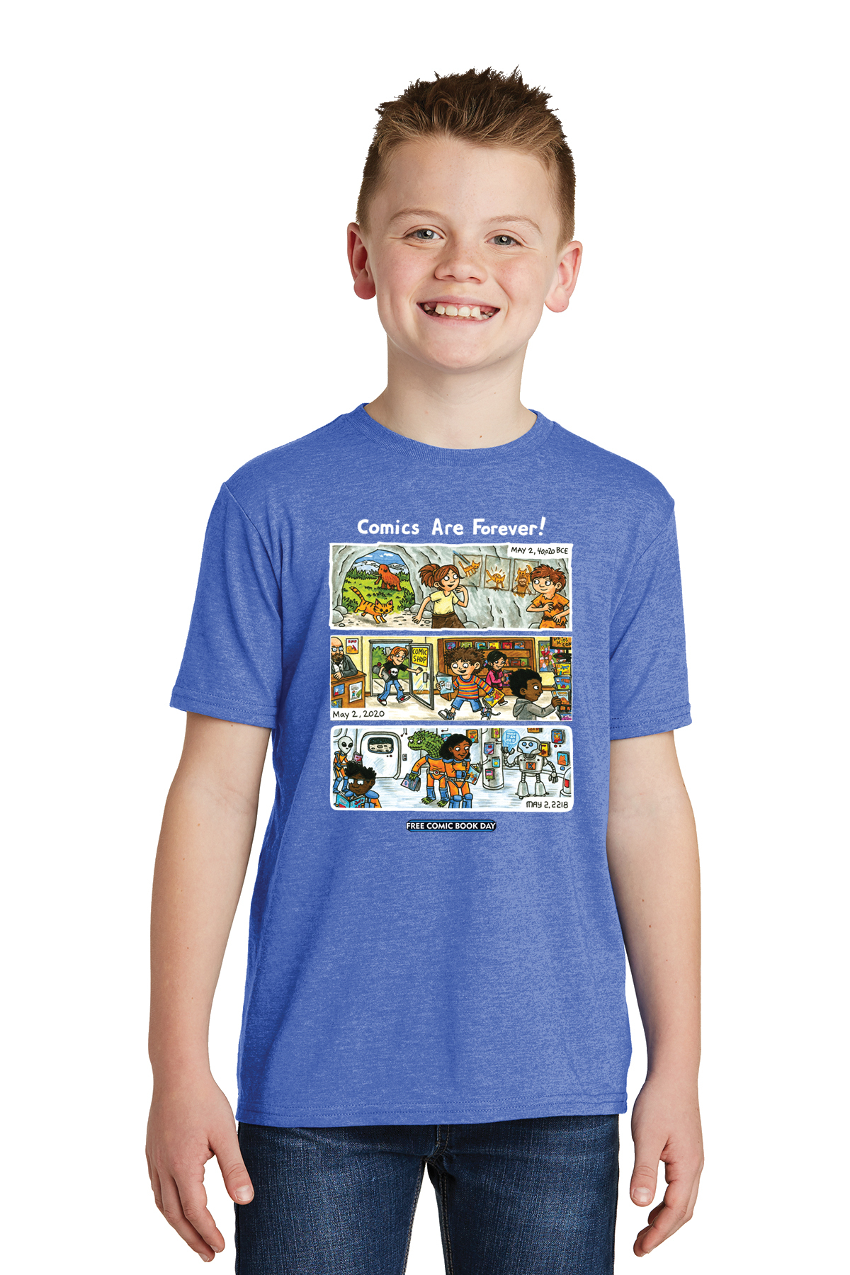 FCBD 2020 COMM ARTIST BROWN BLUE YOUTH T/S LG