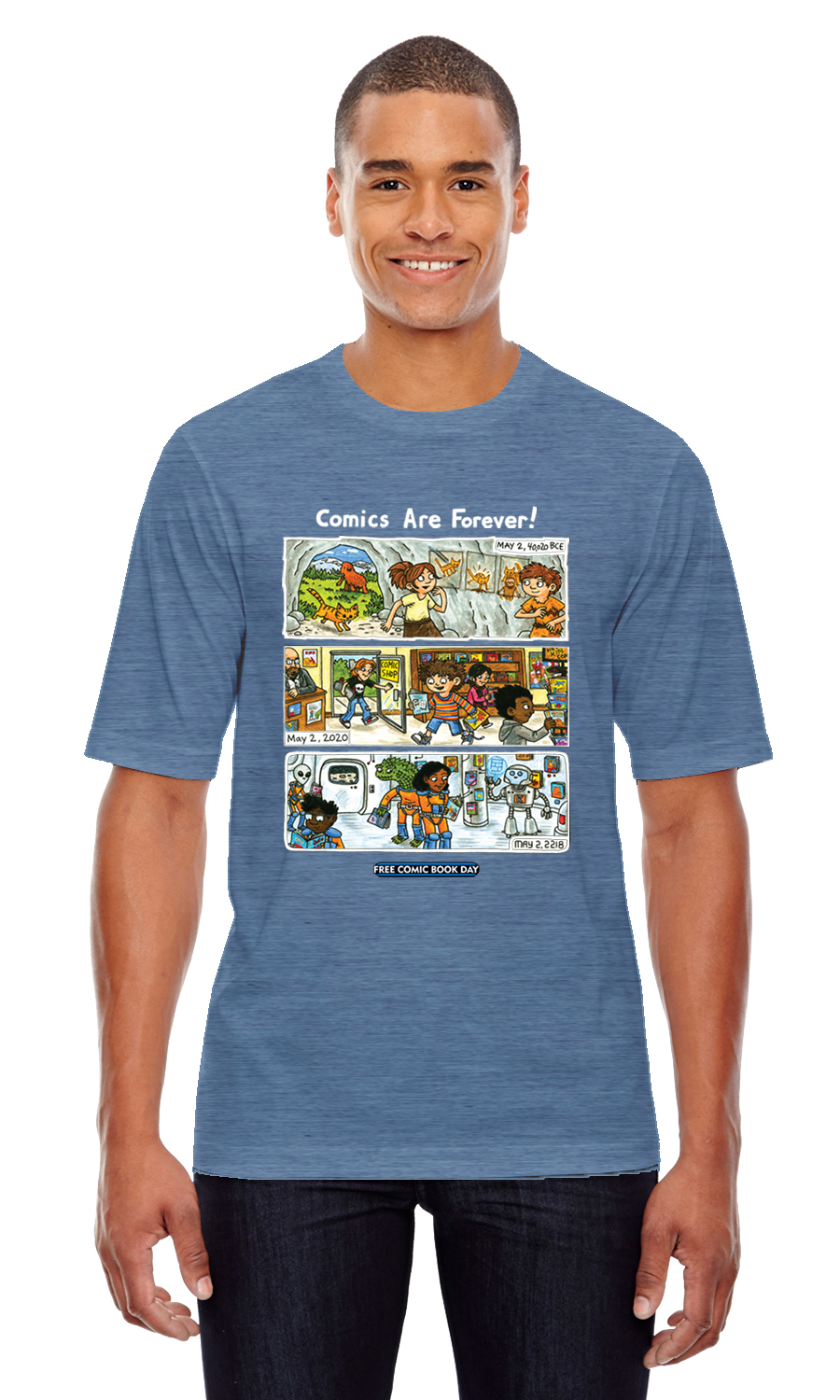 FCBD 2020 COMM ARTIST BROWN HTHR DENIM T/S XXL