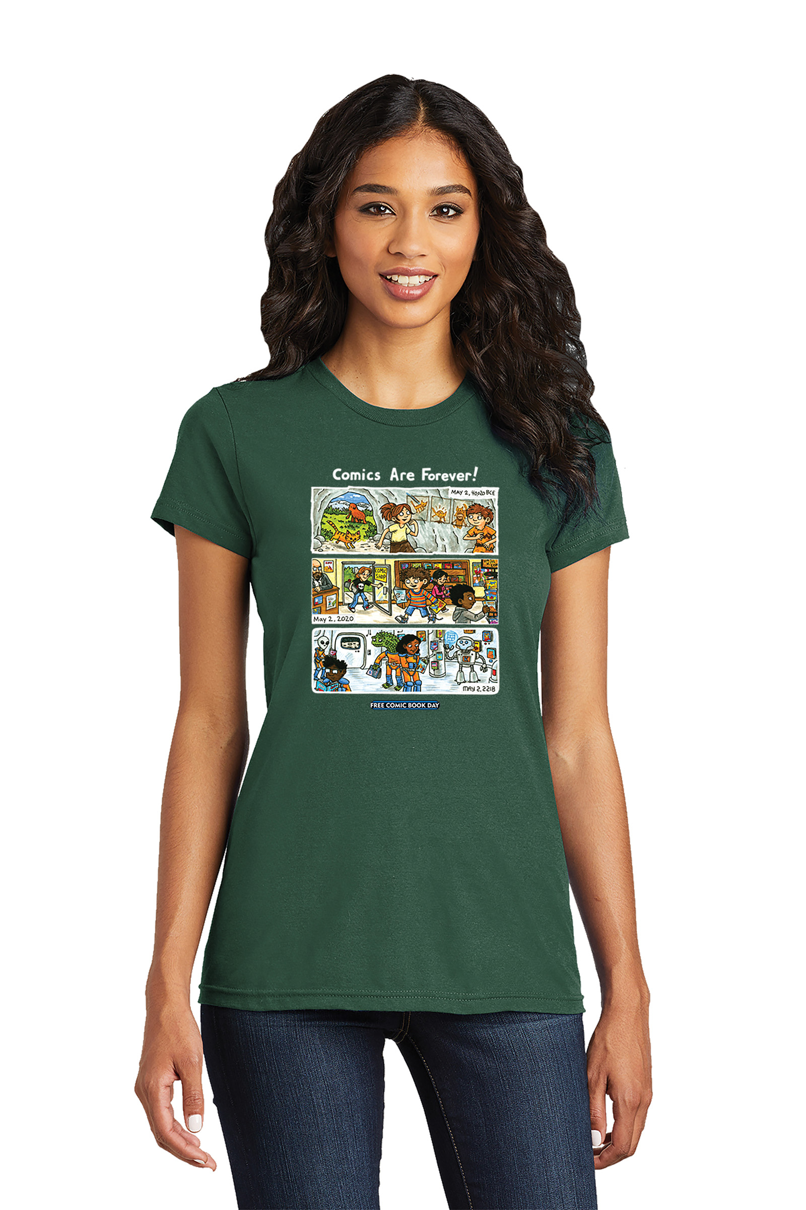 FCBD 2020 COMM ARTIST BROWN WOMEN FOREST GREEN T/S MED