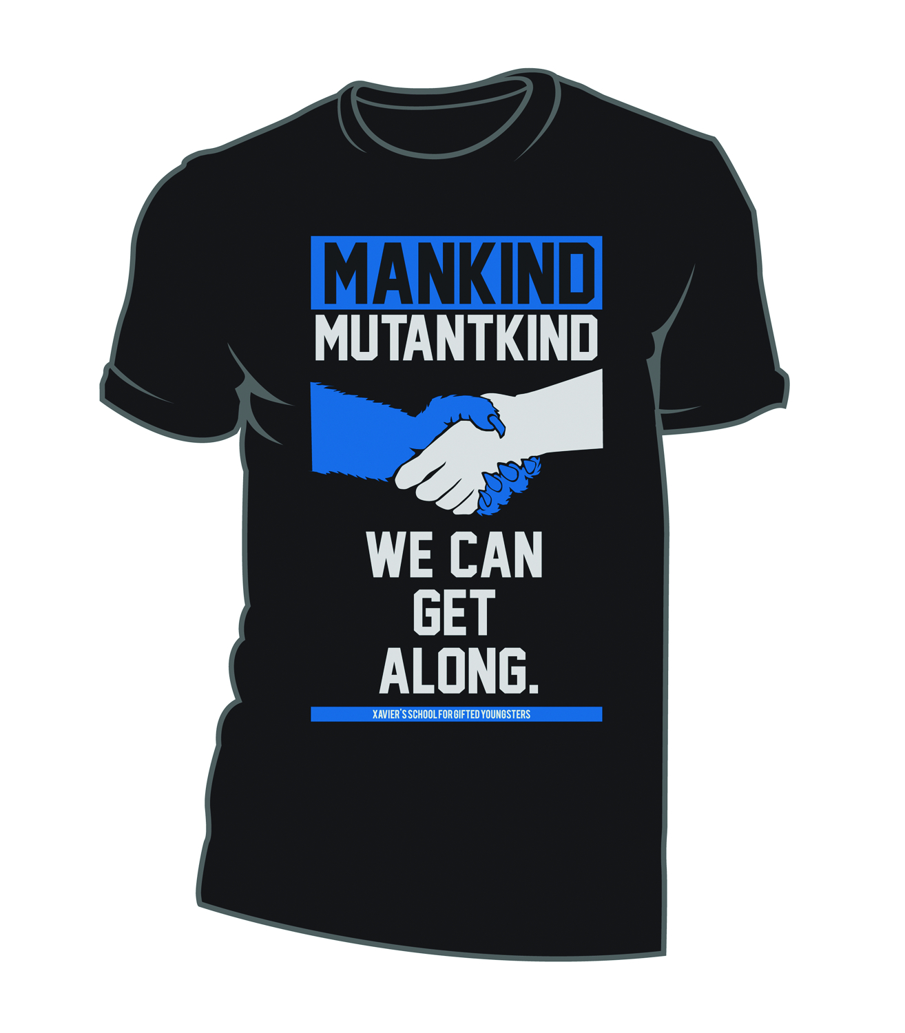 X-MEN WE CAN GET ALONG BLK T/S LG
