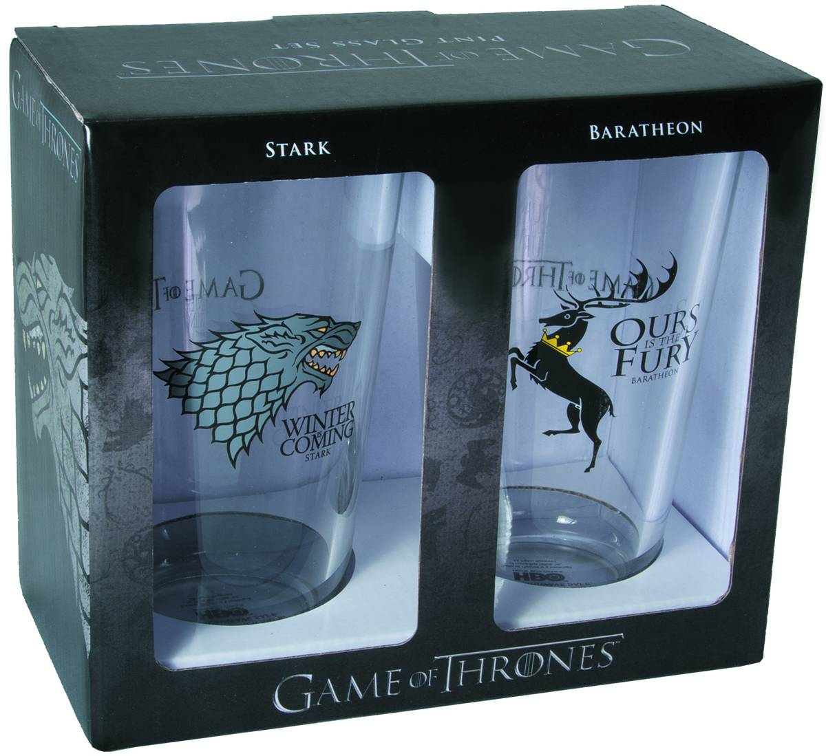 GAME OF THRONES PINT GLASS SET STARK & BARATHEON