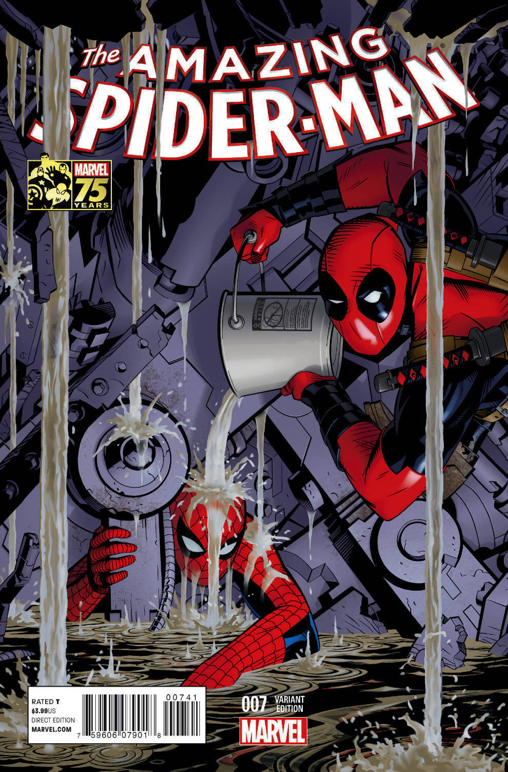 AMAZING SPIDER-MAN #7 DEADPOOL 75TH ANNIV VAR EOSV