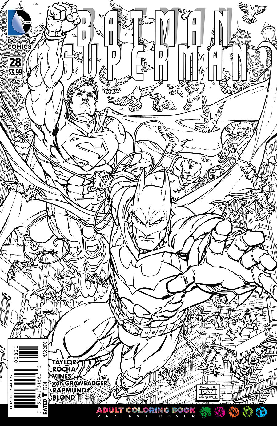 BATMAN SUPERMAN #28 ADULT COLORING BOOK VAR ED