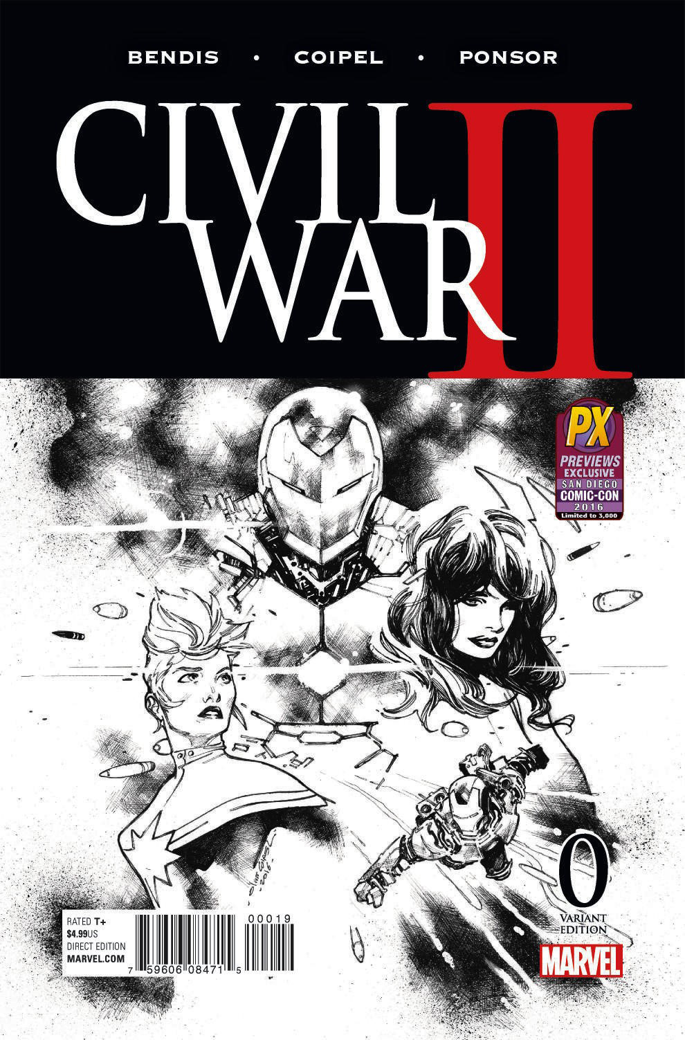 SDCC 2016 CIVIL WAR II #0 (OF 8) COIPEL B&W VAR