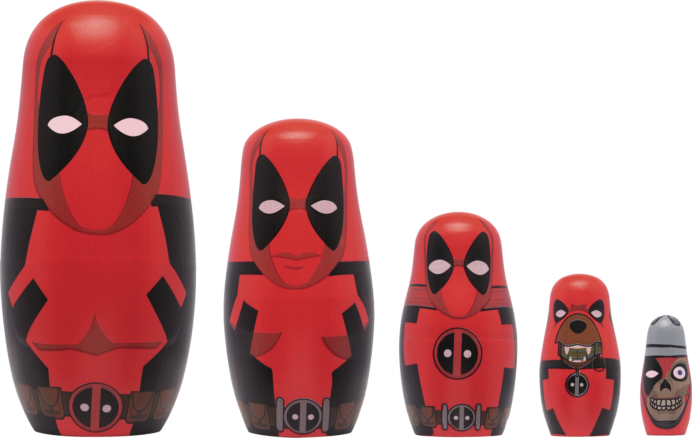 MARVEL DEADPOOL WOOD NESTING DOLL SET