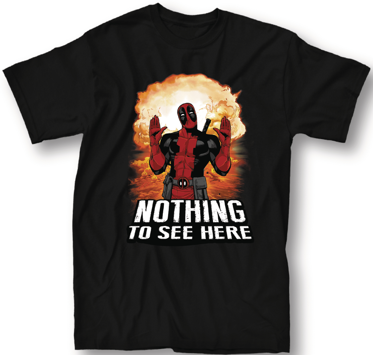 DEADPOOL NOTHING TO SEE HERE BLACK T/S SM