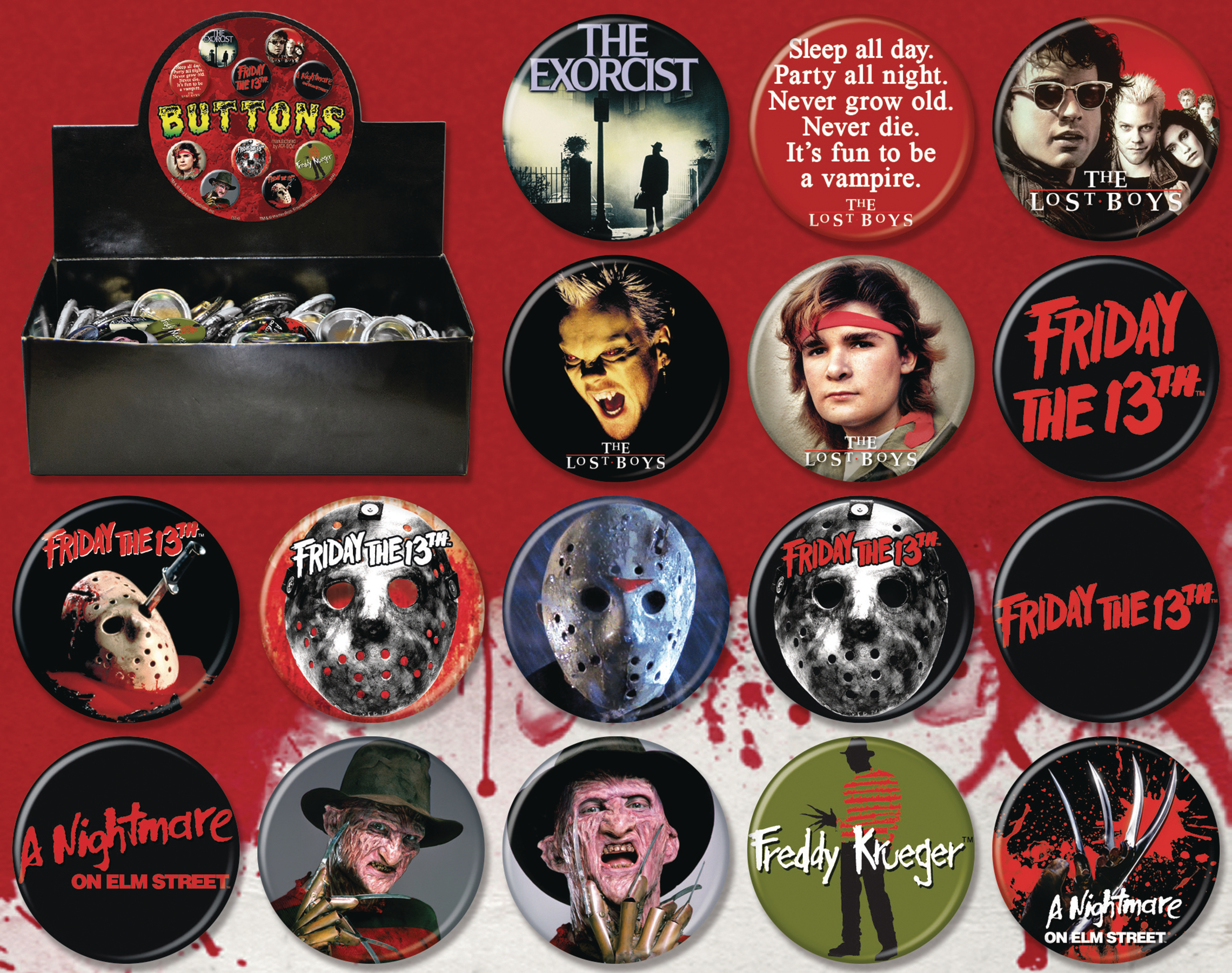 NEW LINE HORROR MOVIES 144PC BUTTON ASST