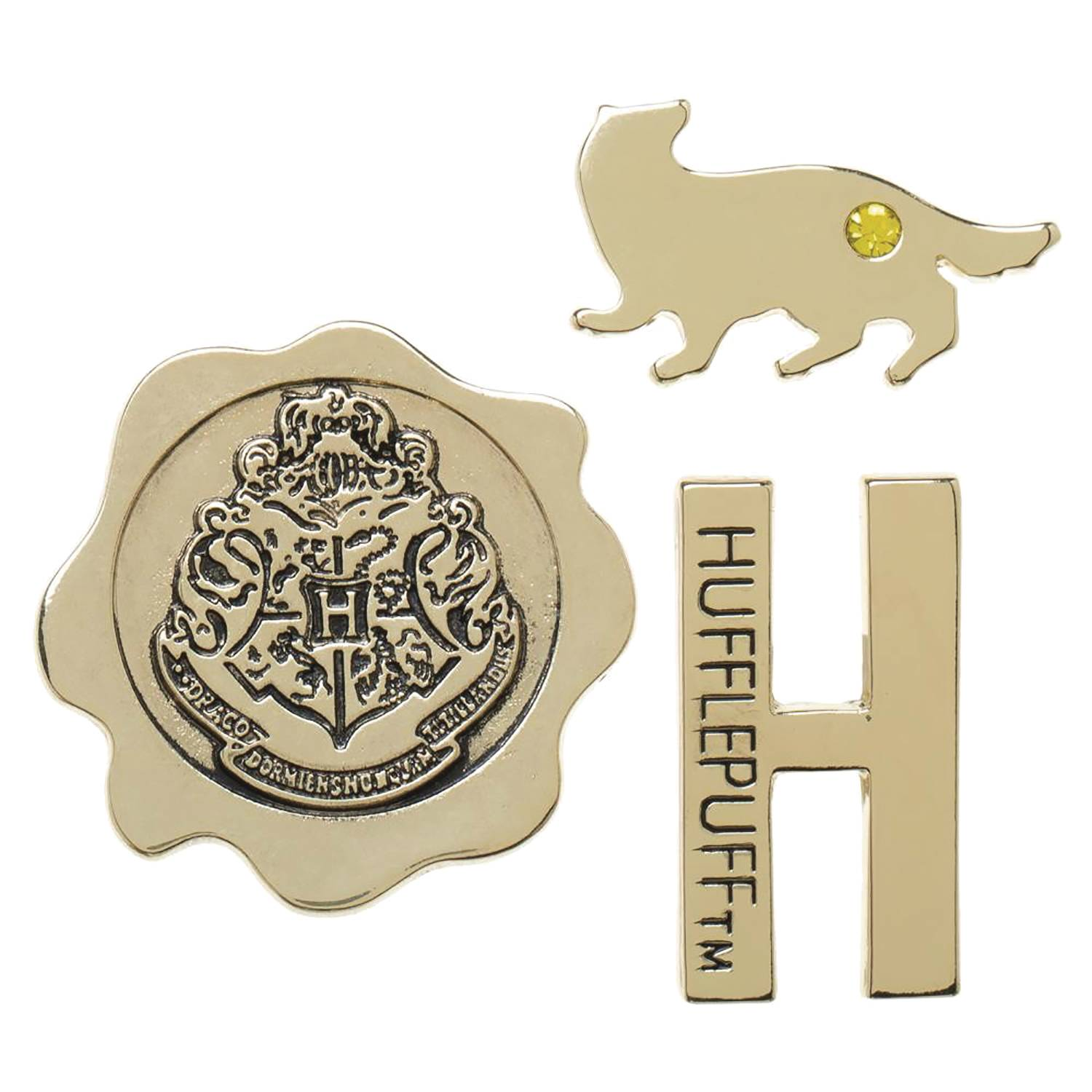 HARRY POTTER HOGWARTS HOUSE HUFFLEPUFF 3PC LAPEL PIN SET