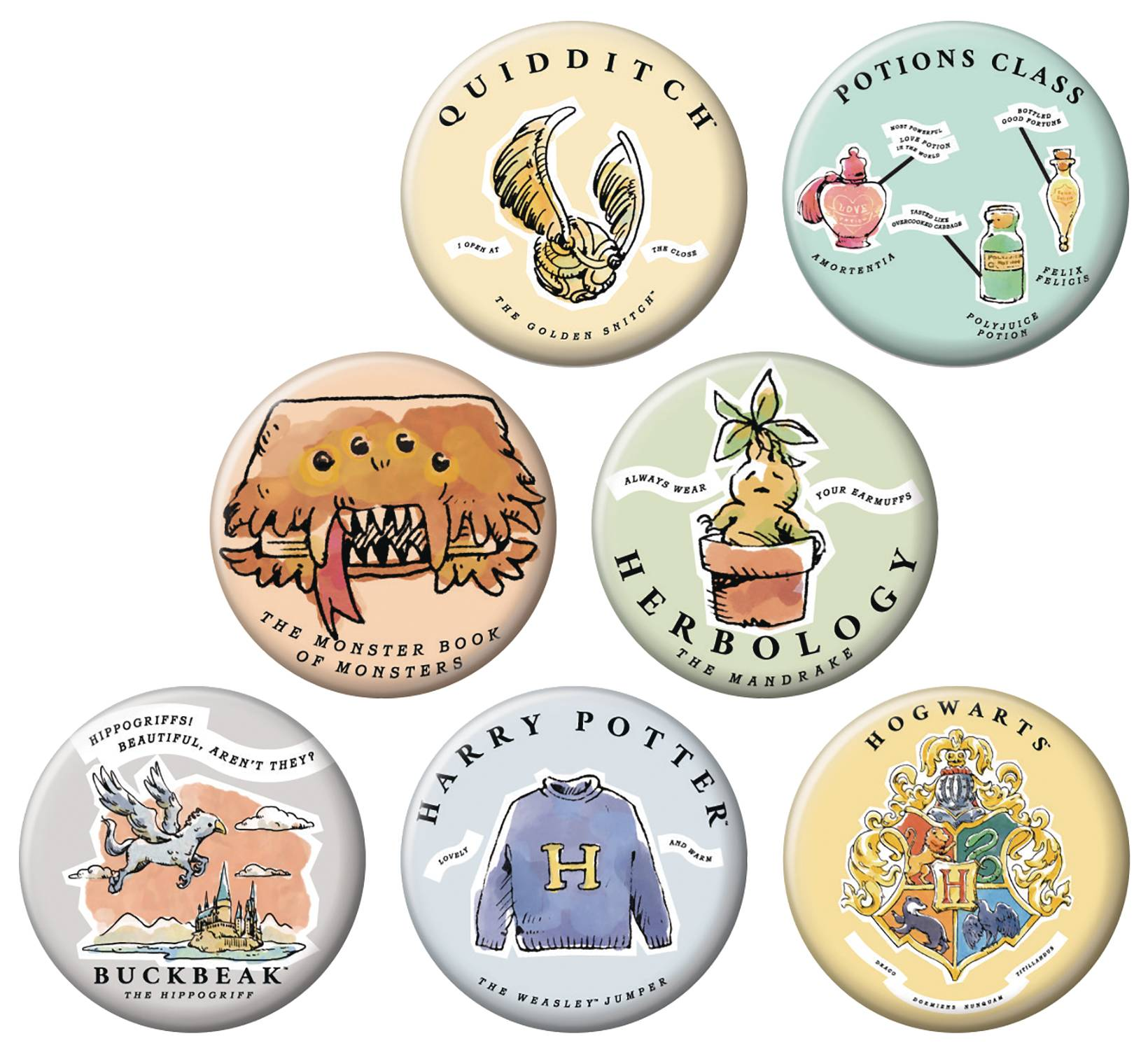 HARRY POTTER WHIMSY 144PC BUTTON DIS