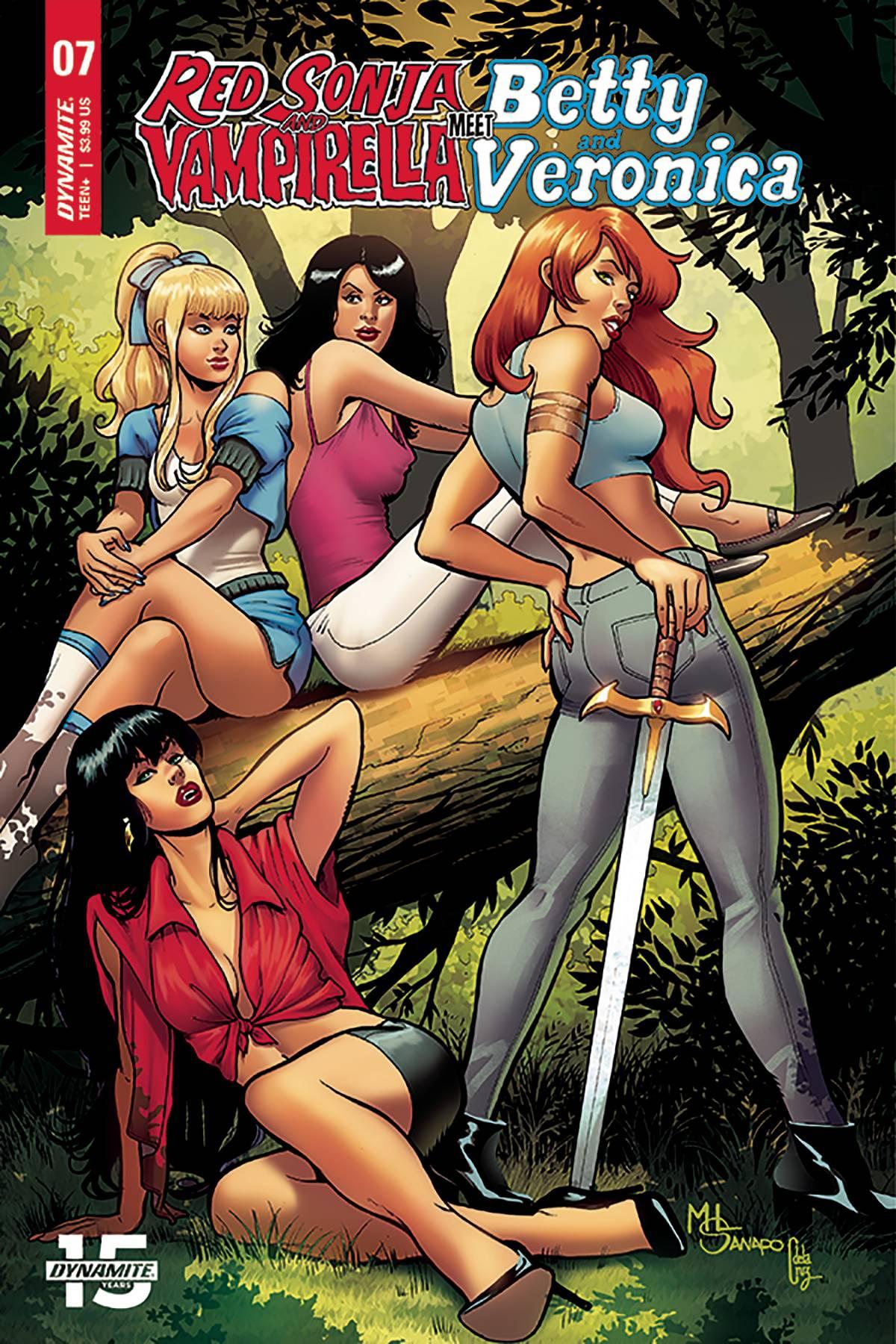 Red Sonja Vampirella Betty Veronica #7 Cover B VF Vault 35 2019 Dynamite