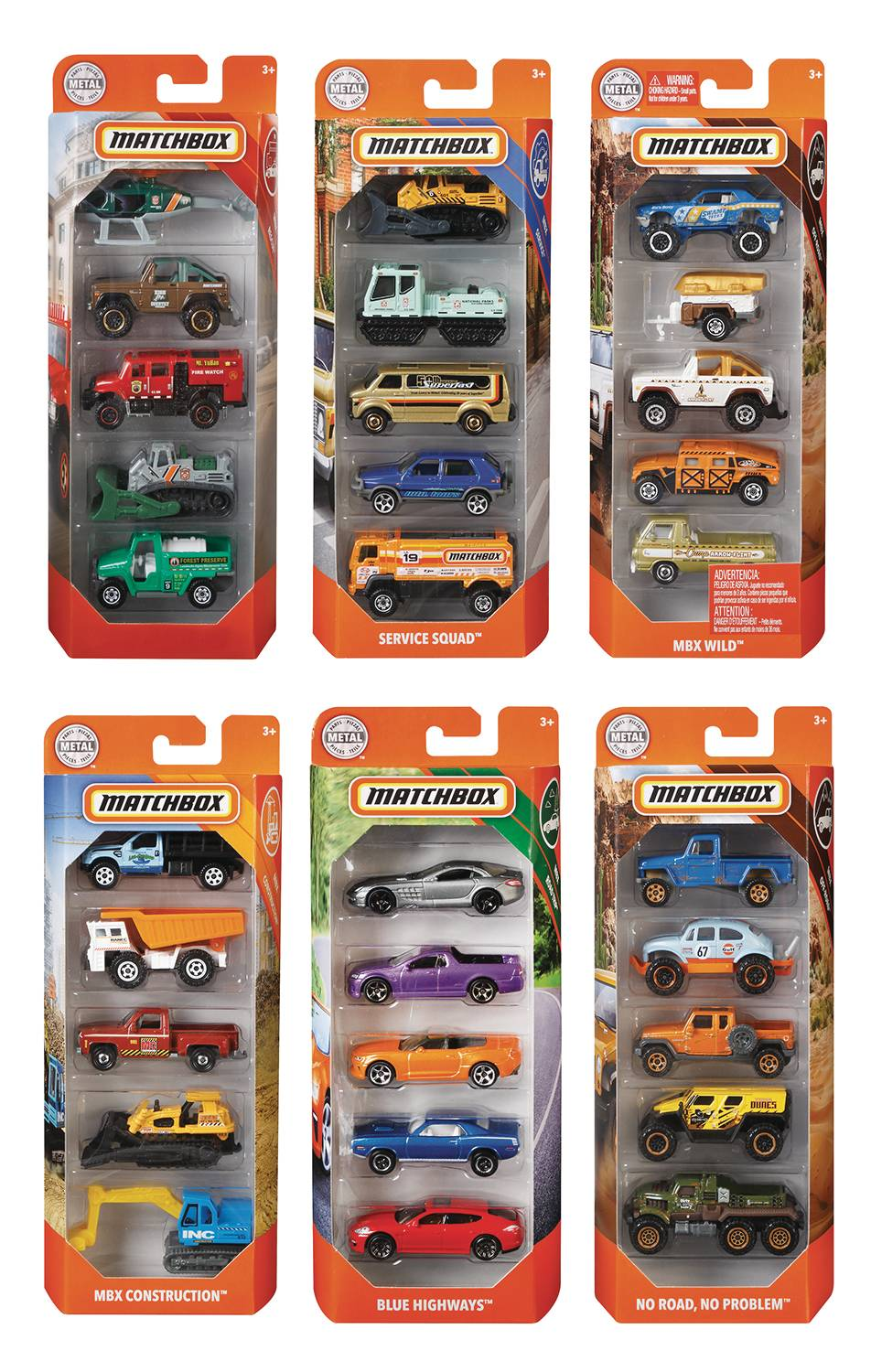 MATCHBOX 1/64 DIE-CAST VEHICLE 5PK ASST