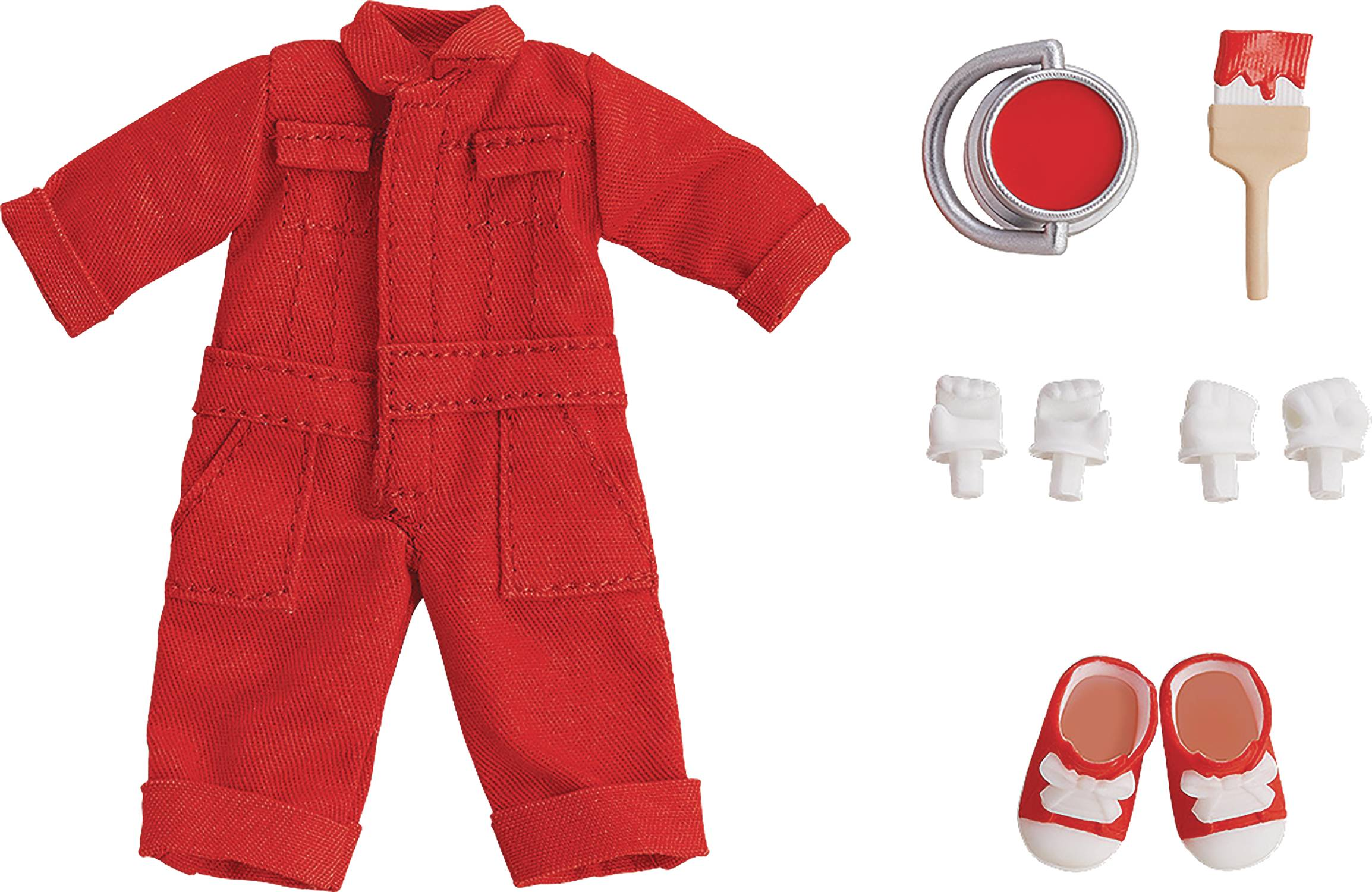 NENDOROID DOLL OUTFIT SET COLORFUL OVERALLS RED VER