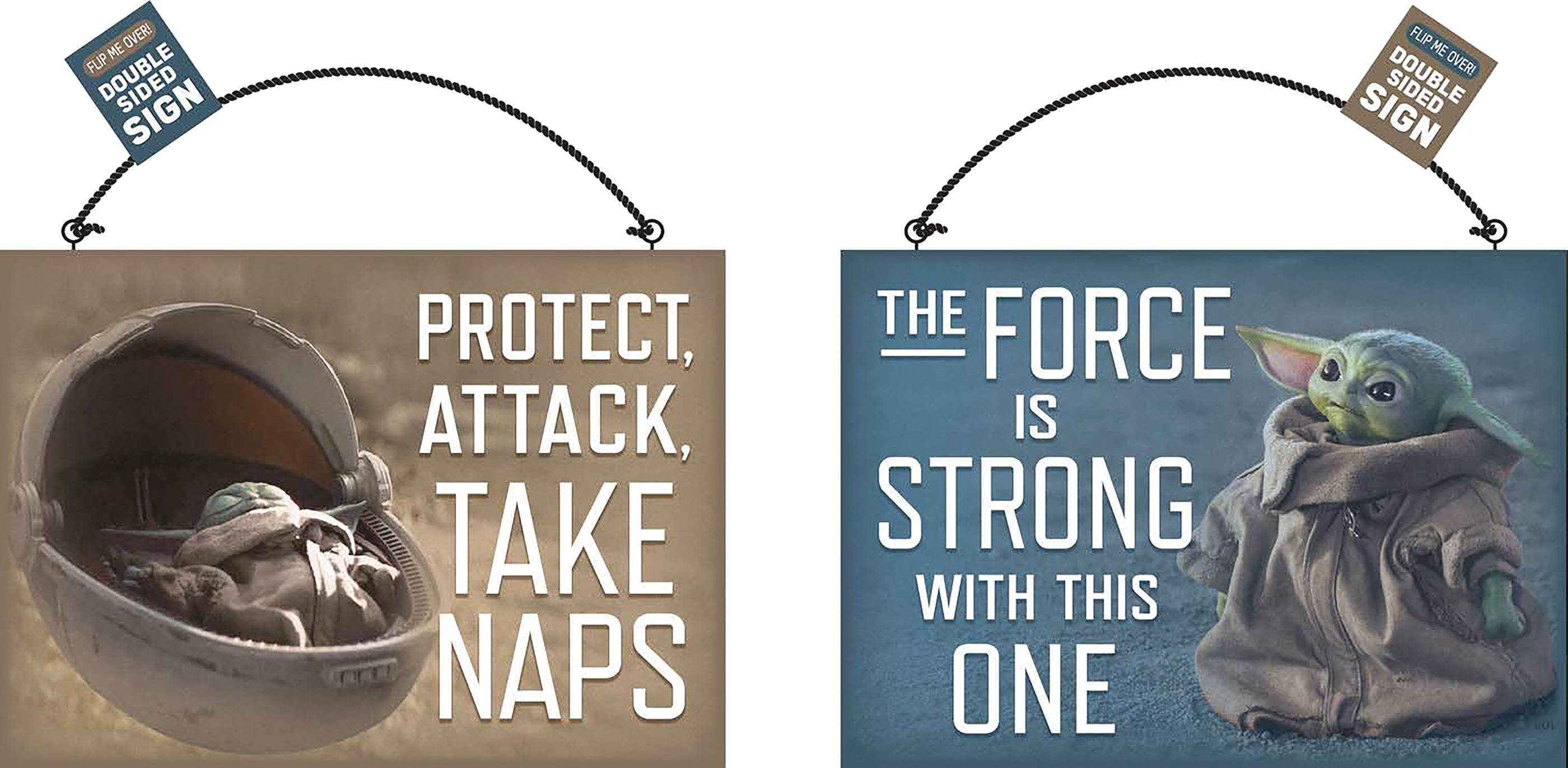 STAR WARS THE MANDALORIAN THE CHILD NAP TWO SIDED WOOD SIGN