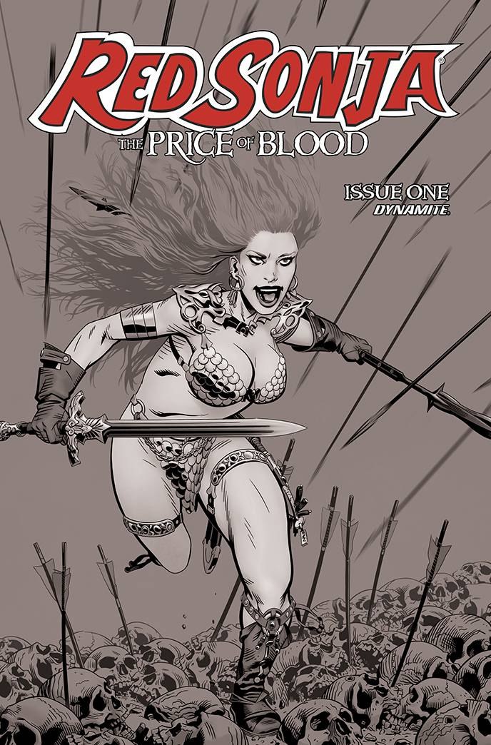 RED SONJA PRICE OF BLOOD #1 10 COPY GOLDEN B&W INCV