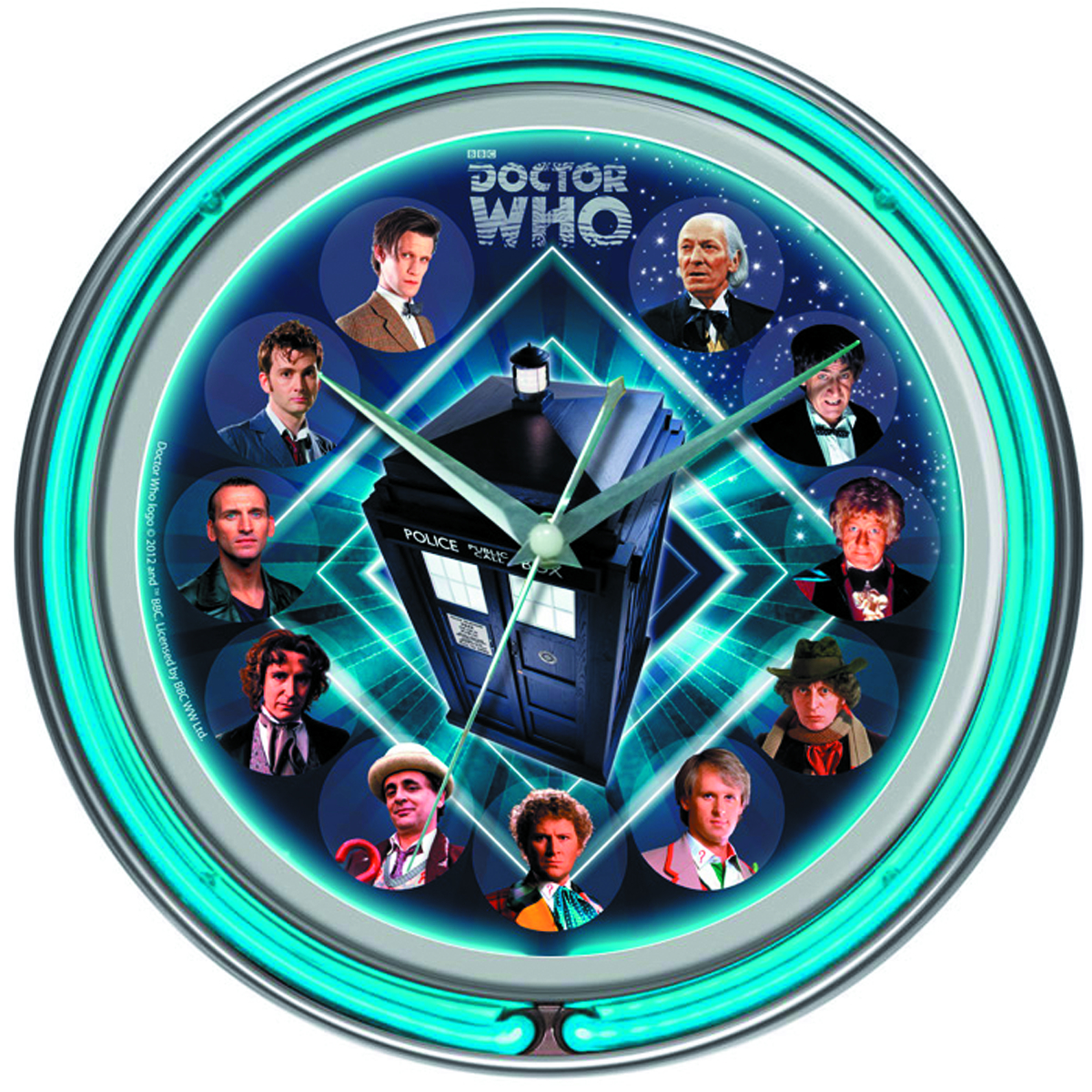 previewsworld doctor who double neon wall clock c 1 1 2. Black Bedroom Furniture Sets. Home Design Ideas