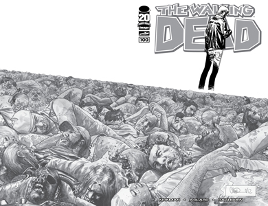 WALKING DEAD #100 CHARLIE ADLARD B&W WRAPAROUND COVER