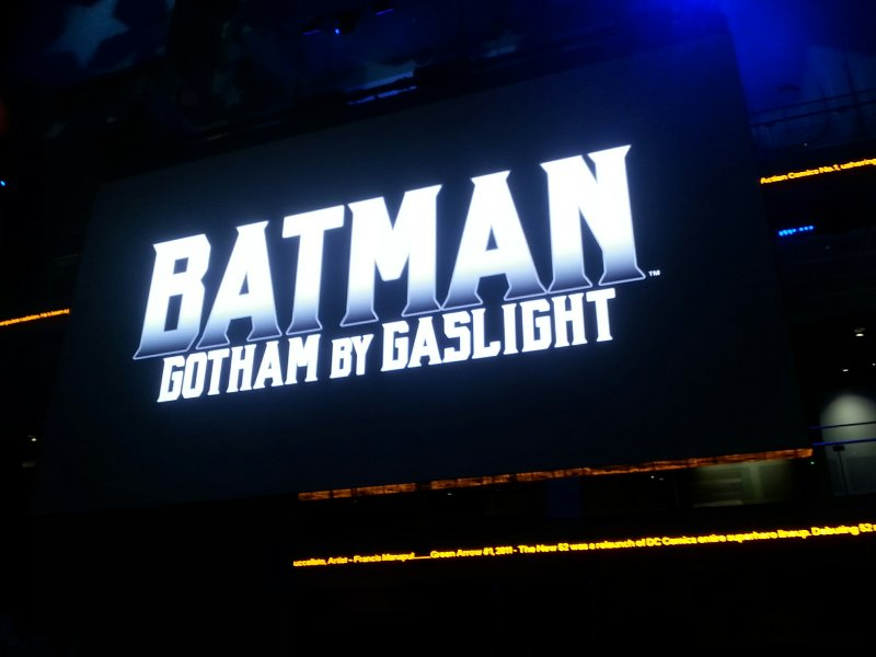 Batman: Gotham by Gaslight logo on LED board inside Newseum