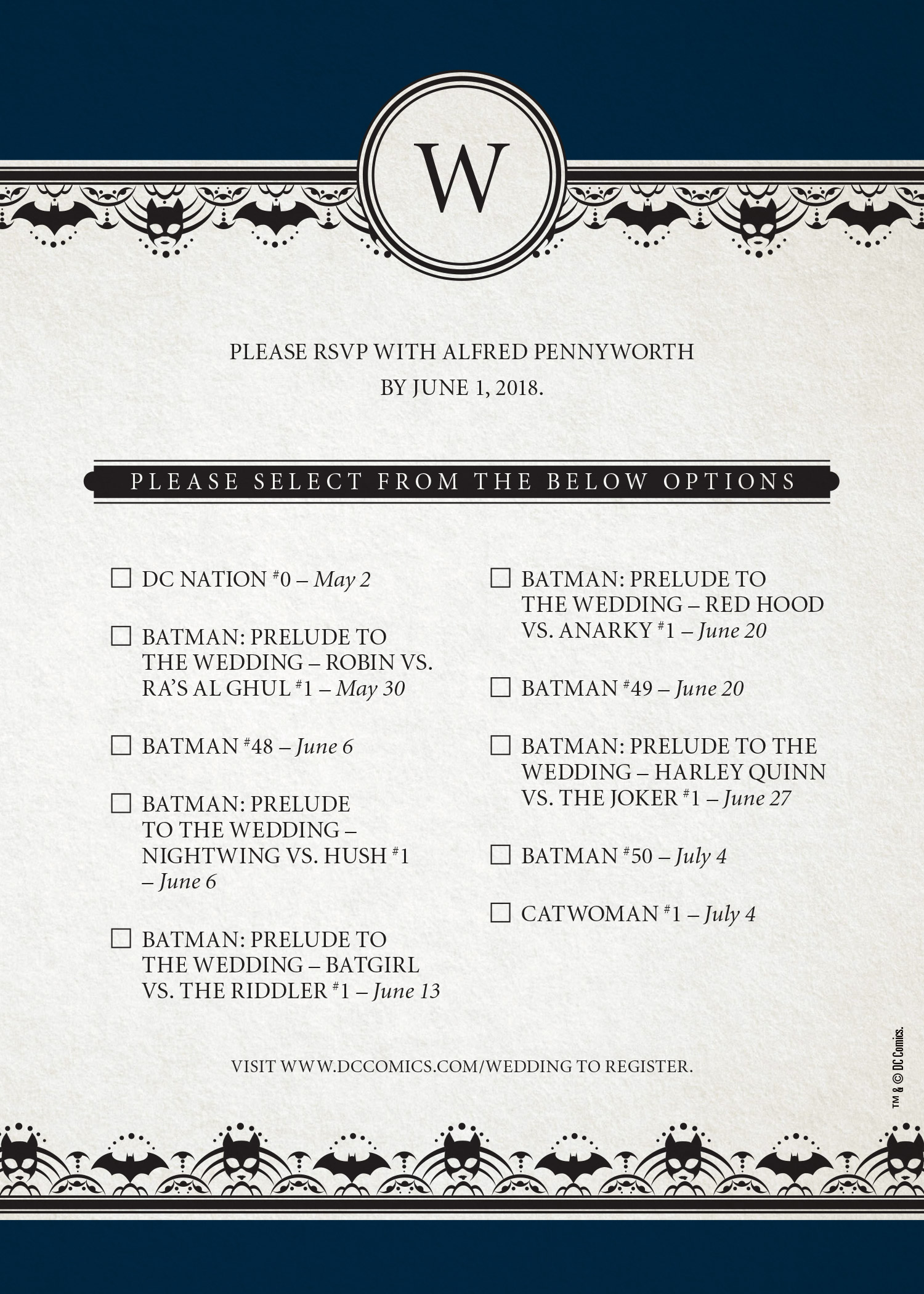 Batman Wedding Save The Date Card Revealed Previews World