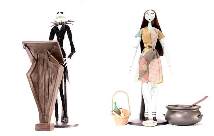 celebrate the nightmare before christmas with jack and sally coffin dolls